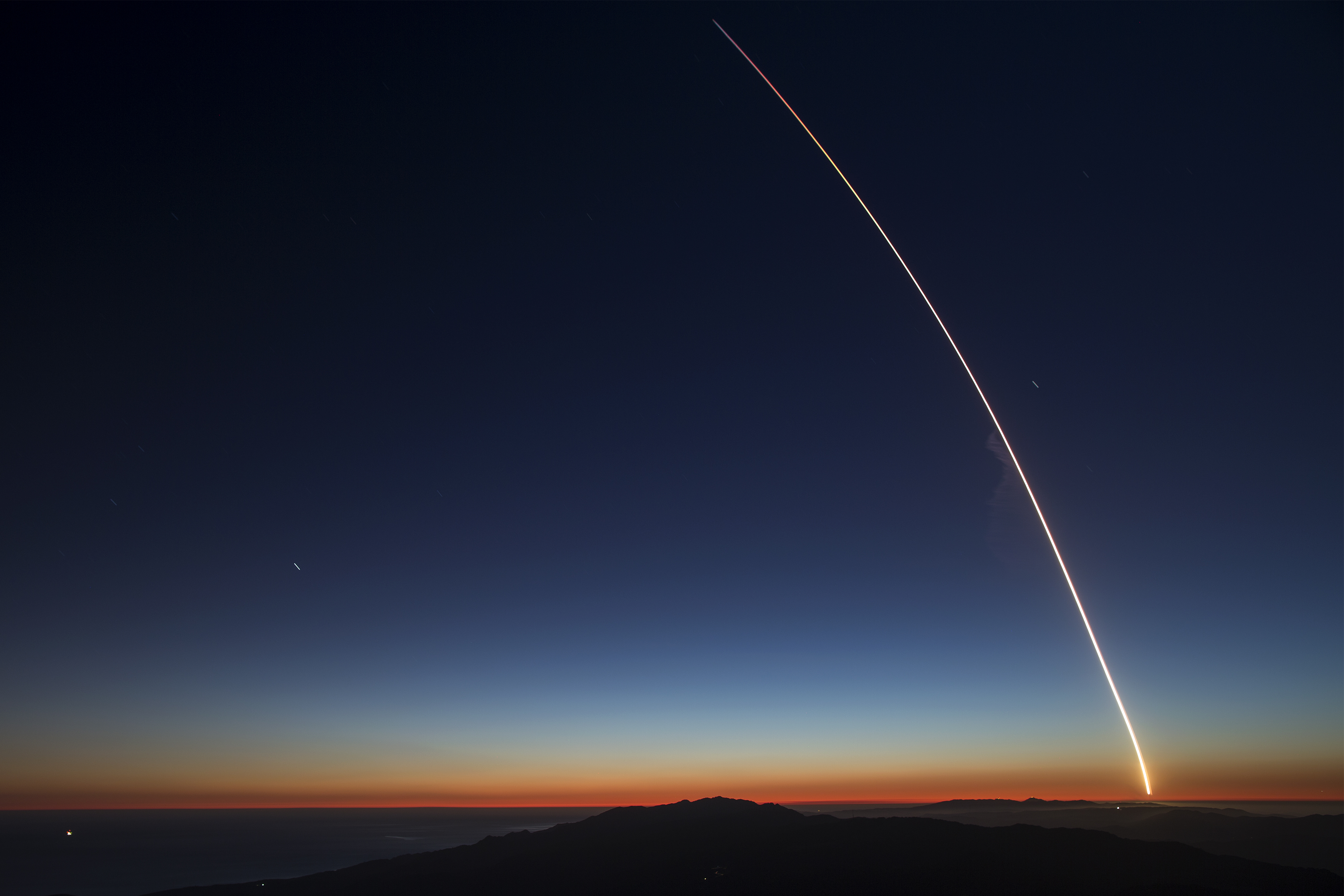 The SpaceX Falcon 9 rocket launches from Vandenberg Air Force Base carrying the SAOCOM 1A and ITASAT 1 satellites, as seen during a long exposure on October 7, 2018 near Santa Barbara, California.