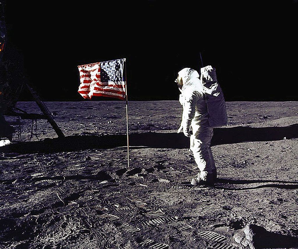 This 20 July 1969 file photo released by NASA shows astronaut Edwin E.  Buzz  Aldrin, Jr. saluting the US flag on the surface of the Moon during the Apollo 11 lunar mission.