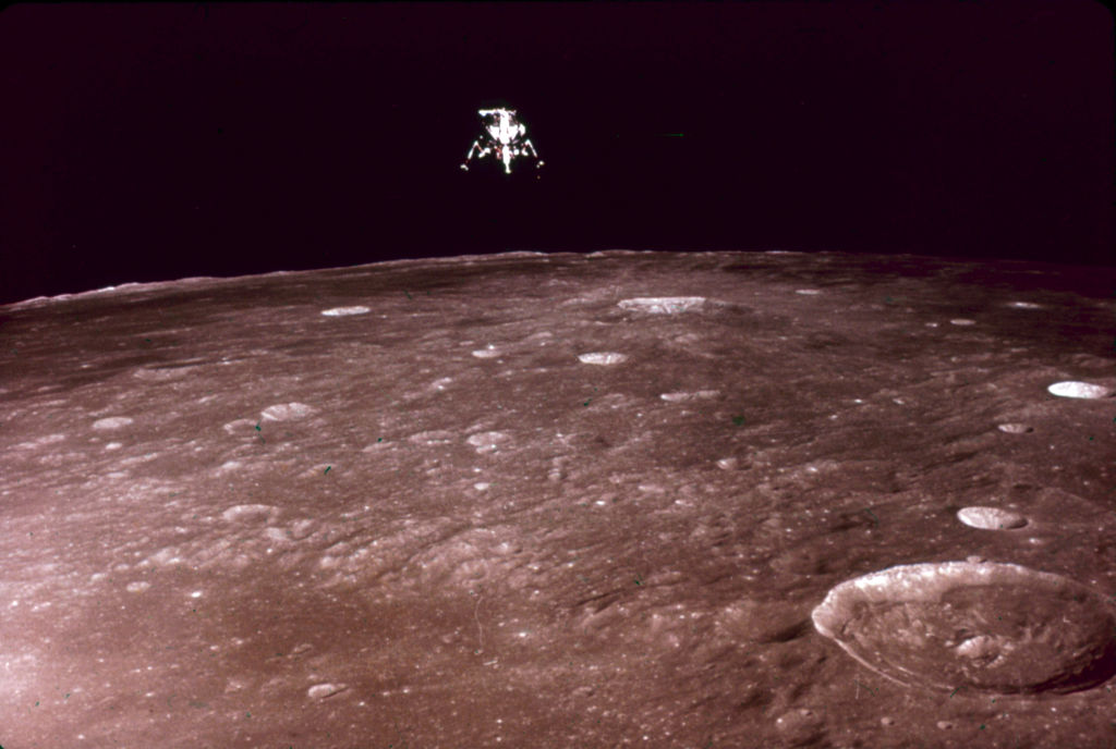 View, during NASA's Apollo 12 mission, of the 'Intrepid' Lunar Module as it descends to the surface of the moon, November 19, 1969.