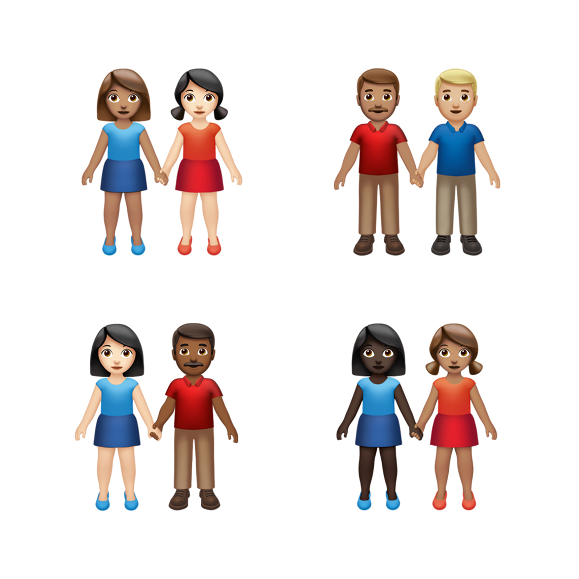 The image shows the upcoming IOS 13.0 update that will includes emojis where users can choose couples with various skin tones and genders to hold hands.