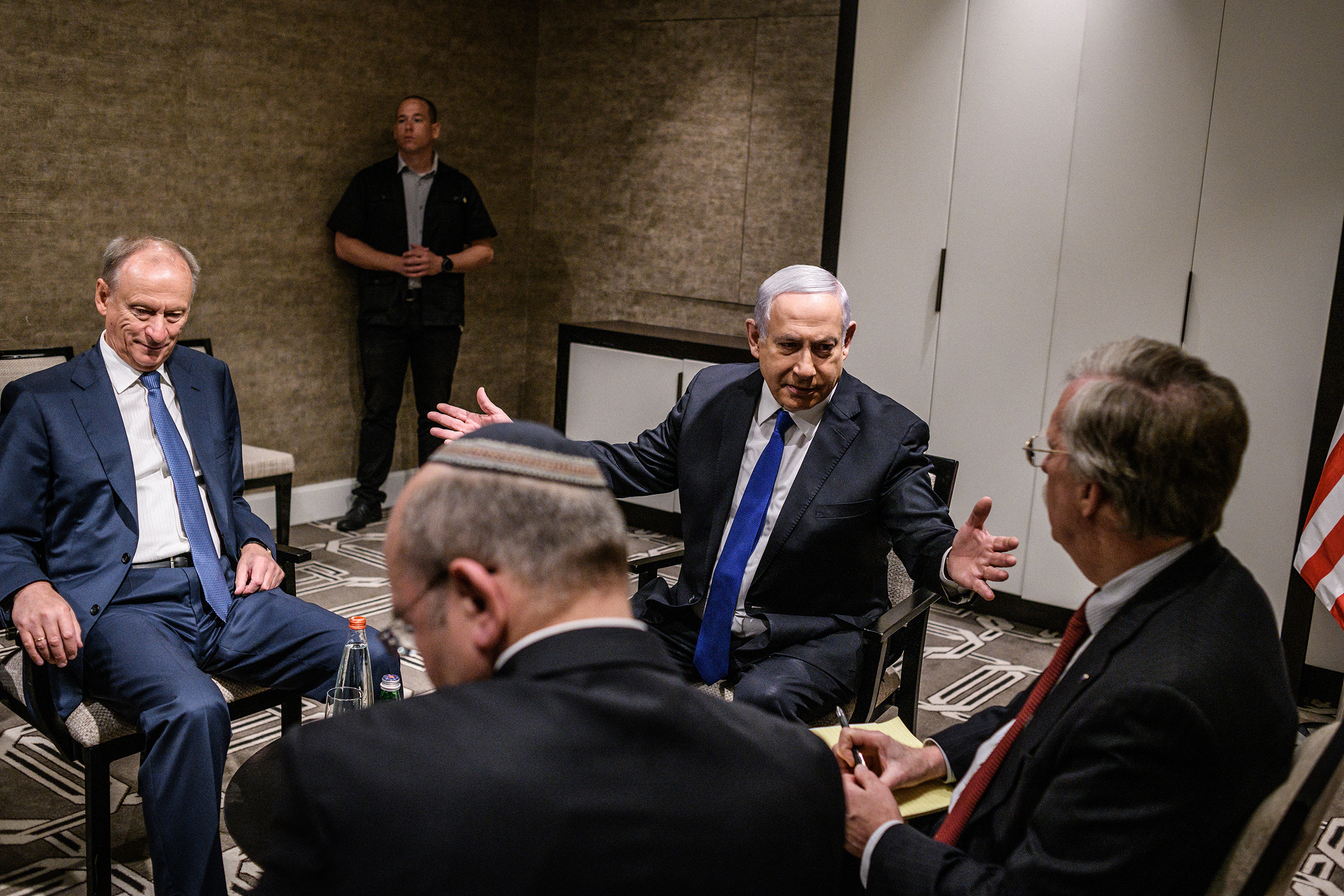 Netanyahu meets with U.S., Russian and Israeli national-security officials in Jerusalem.