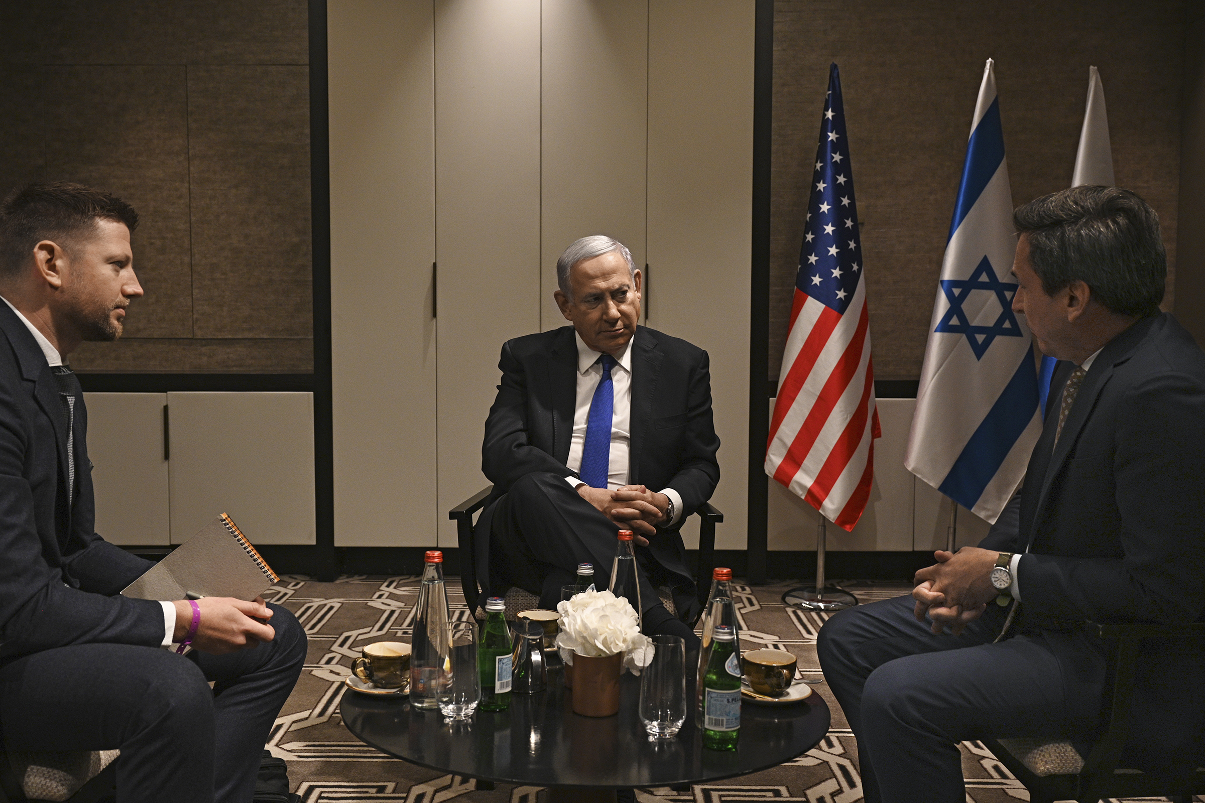 Prime Minister Benjamin Netanyahu spoke to TIME's Brian Bennett, right, and Joseph Hincks in Jerusalem on June 25.