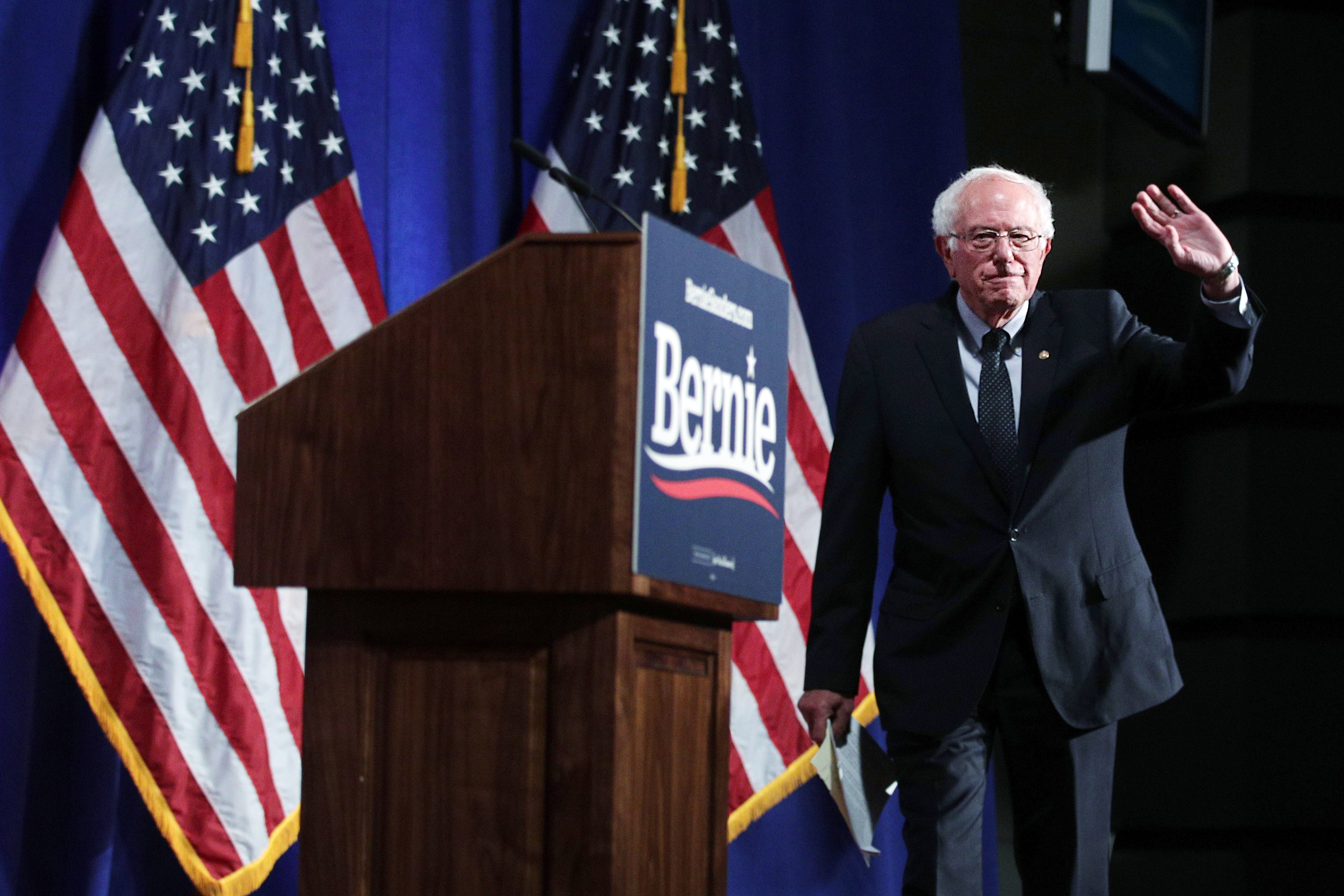 Democratic presidential hopeful and U.S. Sen. Bernie Sanders (I-VT) arrives for a speech on healthcare at George Washington University July 17, 2019 in Washington, DC.