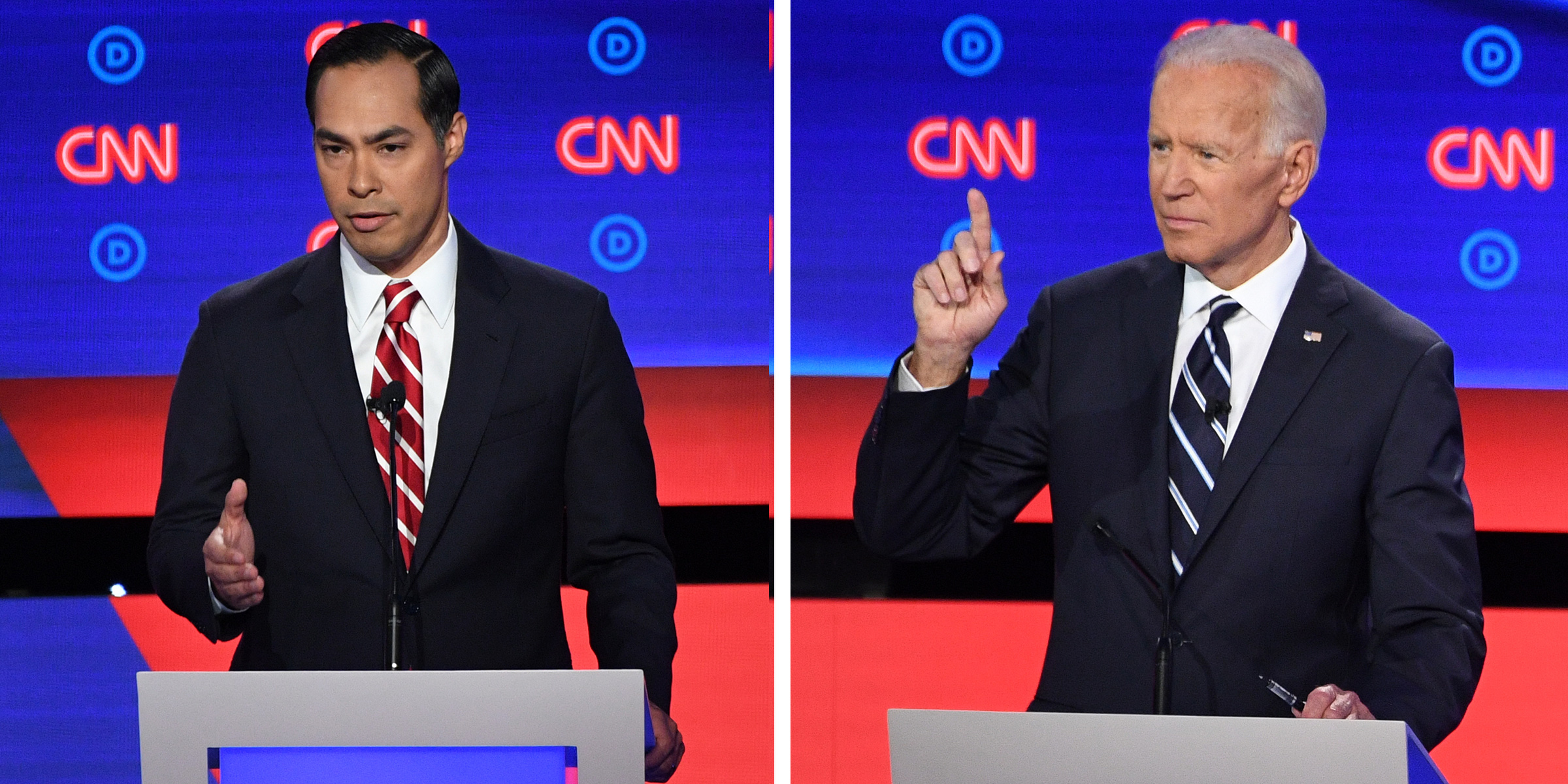 Democratic presidential hopefuls (L-R) Former US Secretary of Housing and Urban Development Julian Castro and Former Vice President Joe Biden during the second round of the second Democratic primary debate of the 2020 presidential campaign season hosted by CNN at the Fox Theatre in Detroit, Michigan on July 31, 2019.