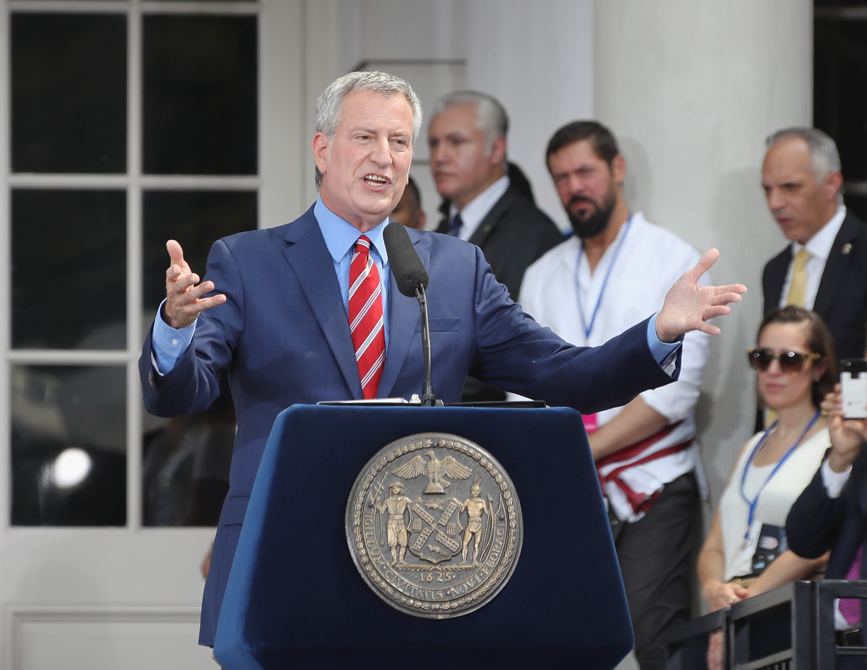 Mayor Bill de Blasio speaks at a ceremony honoring the members of the United States Women's National Soccer Team at City Hall on July 10, 2019 in New York City. The honor followed a ticker tape parade up lower Manhattan's  Canyon of Heroes  to celebrate their gold medal victory in the 2019 Women's World Cup in France.