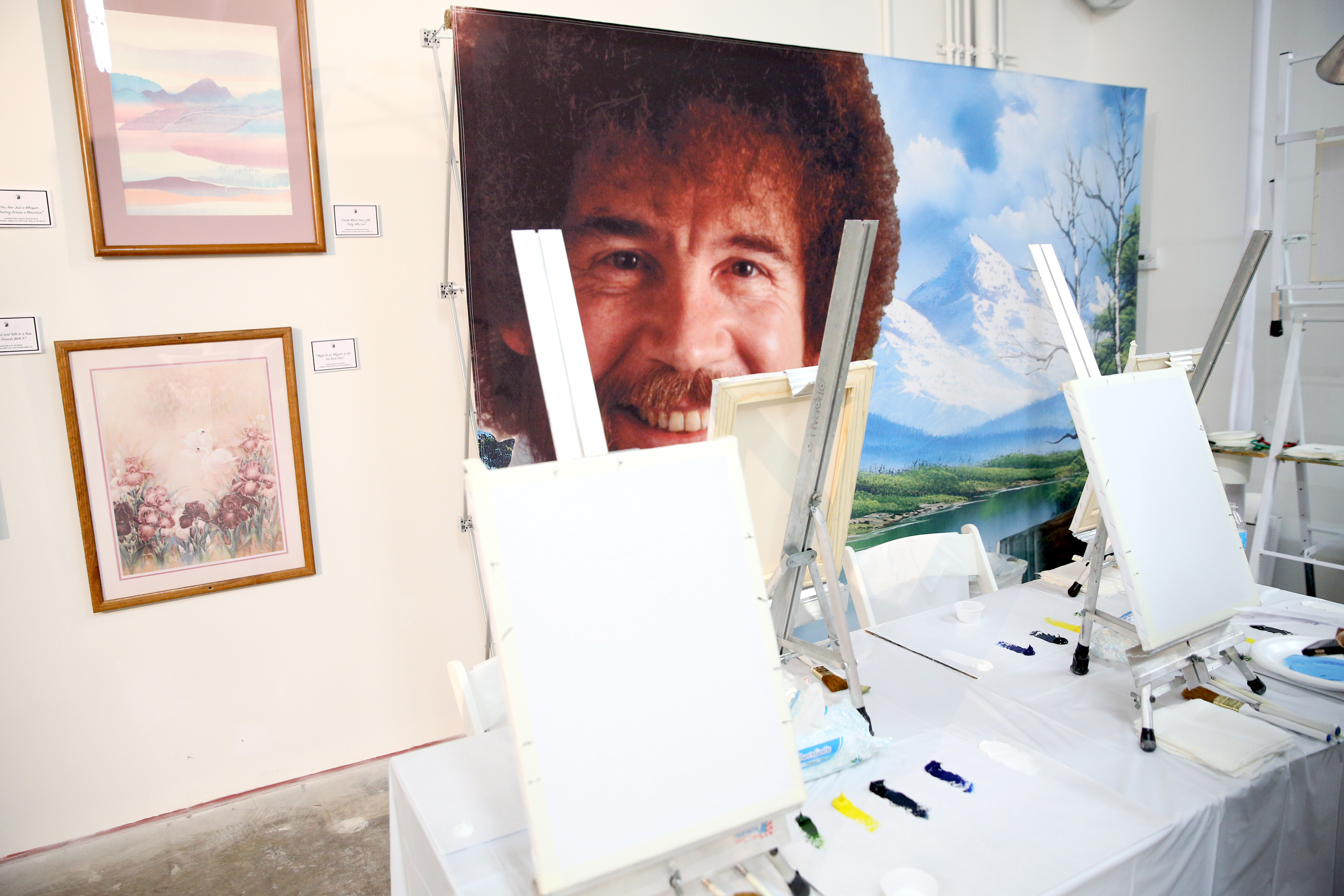 MIAMI, FL - DECEMBER 01:  Bob Ross instruction setup at When The Art Comes Down Miami Beach hosted by Super 8 on December 1, 2016 in Miami, Florida.  (Photo by Robin Marchant/Getty Images for Super 8)