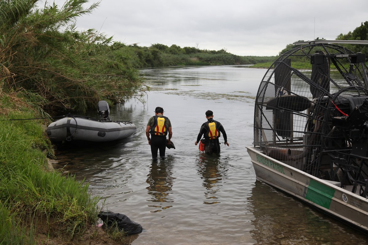 Border Patrol agents search for missing 2-year-old migrant child lost in the Rio Grande river on July 2, 2019.