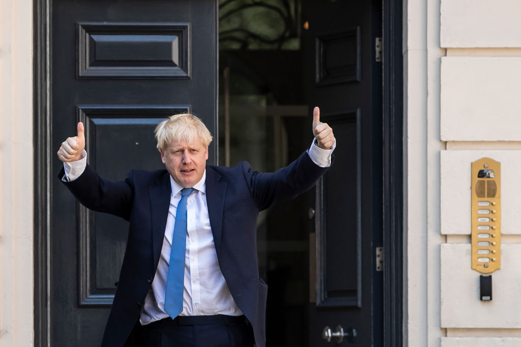 Newly elected Conservative party leader Boris Johnson poses outside the Conservative Leadership Headquarters on July 23, 2019 in London, England. Johnson officially took office as Prime Minister of the UK Wednesday morning.