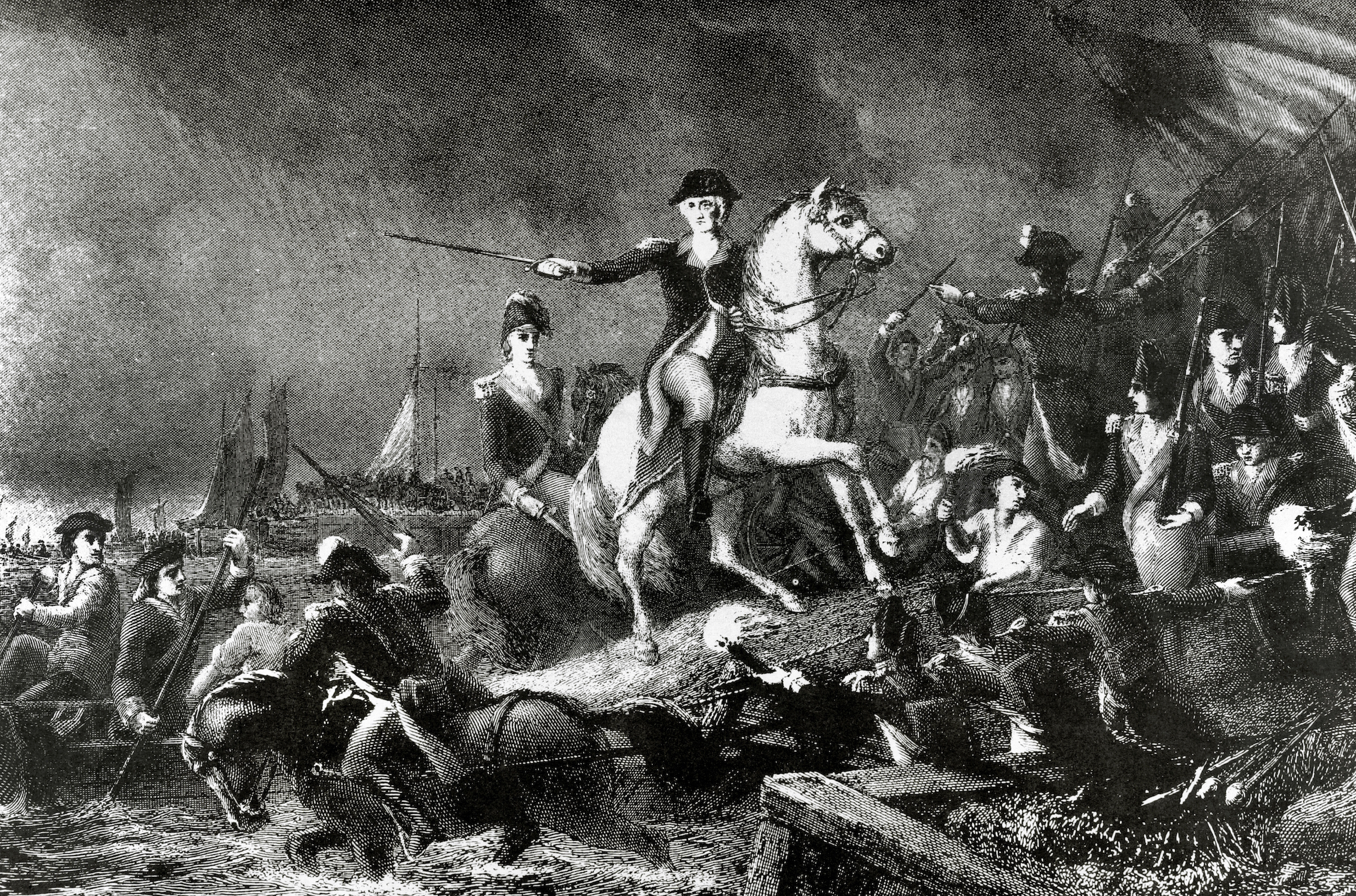 Engraving of the Battle of Long Island or Battle of Brooklyn( August 27, 1776): Withdrawal of the Continental Army of George Washington.