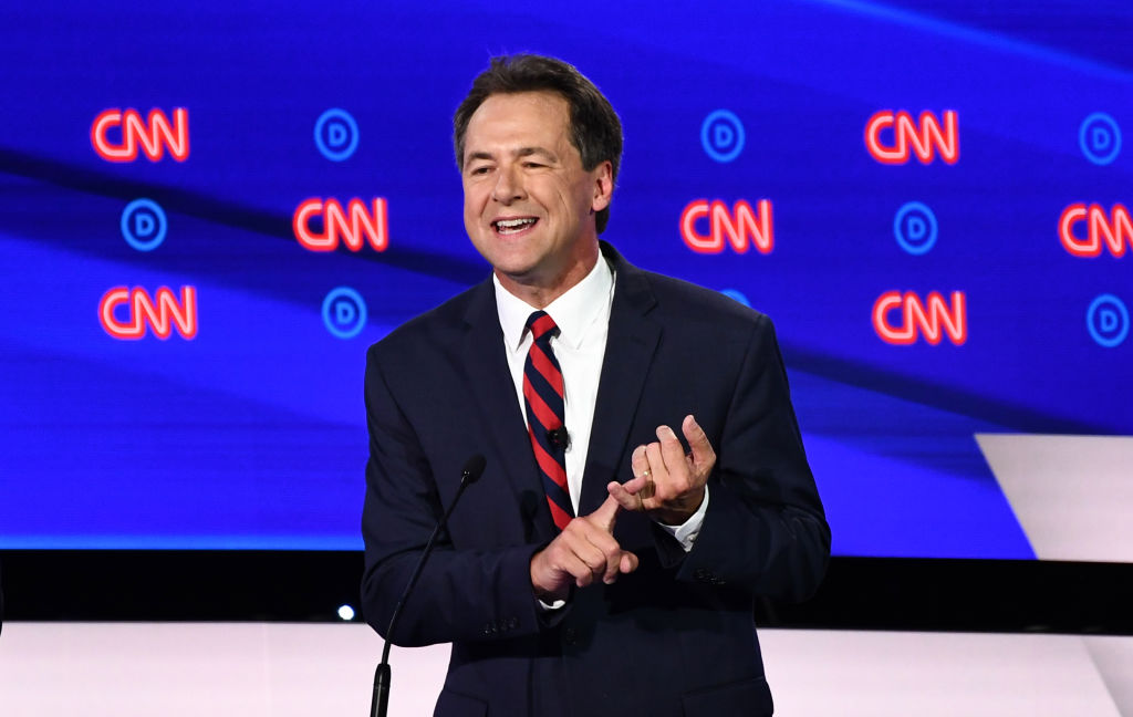 Democratic presidential hopeful Governor of Montana Steve Bullock participates in the first round of the second Democratic primary debate of the 2020 presidential campaign season hosted by CNN at the Fox Theatre in Detroit, Michigan on July 30, 2019. (Photo by Brendan Smialowski / AFP) / ALTERNATIVE CROP (Photo credit should read BRENDAN SMIALOWSKI/AFP/Getty Images)
