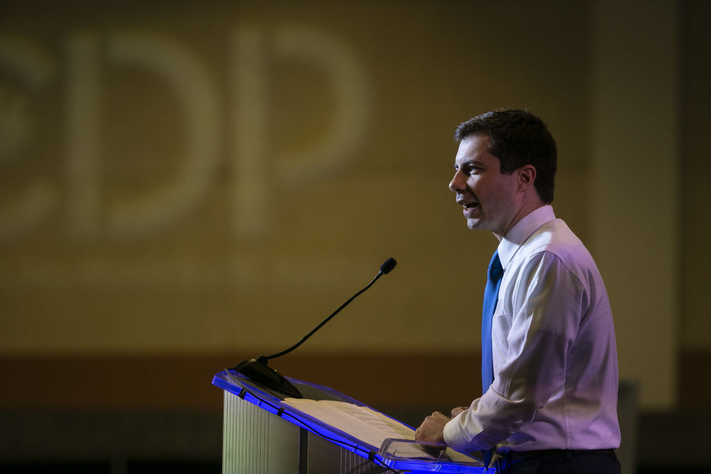 Pete Buttigieg, mayor of South Bend and 2020 presidential candidate, speaks at the South Carolina Democratic Party convention in Columbia, South Carolina, U.S., on Saturday, June 22, 2019. Buttigieg raised $24 million in second quarter fundraising, securing his spot in the September debates.