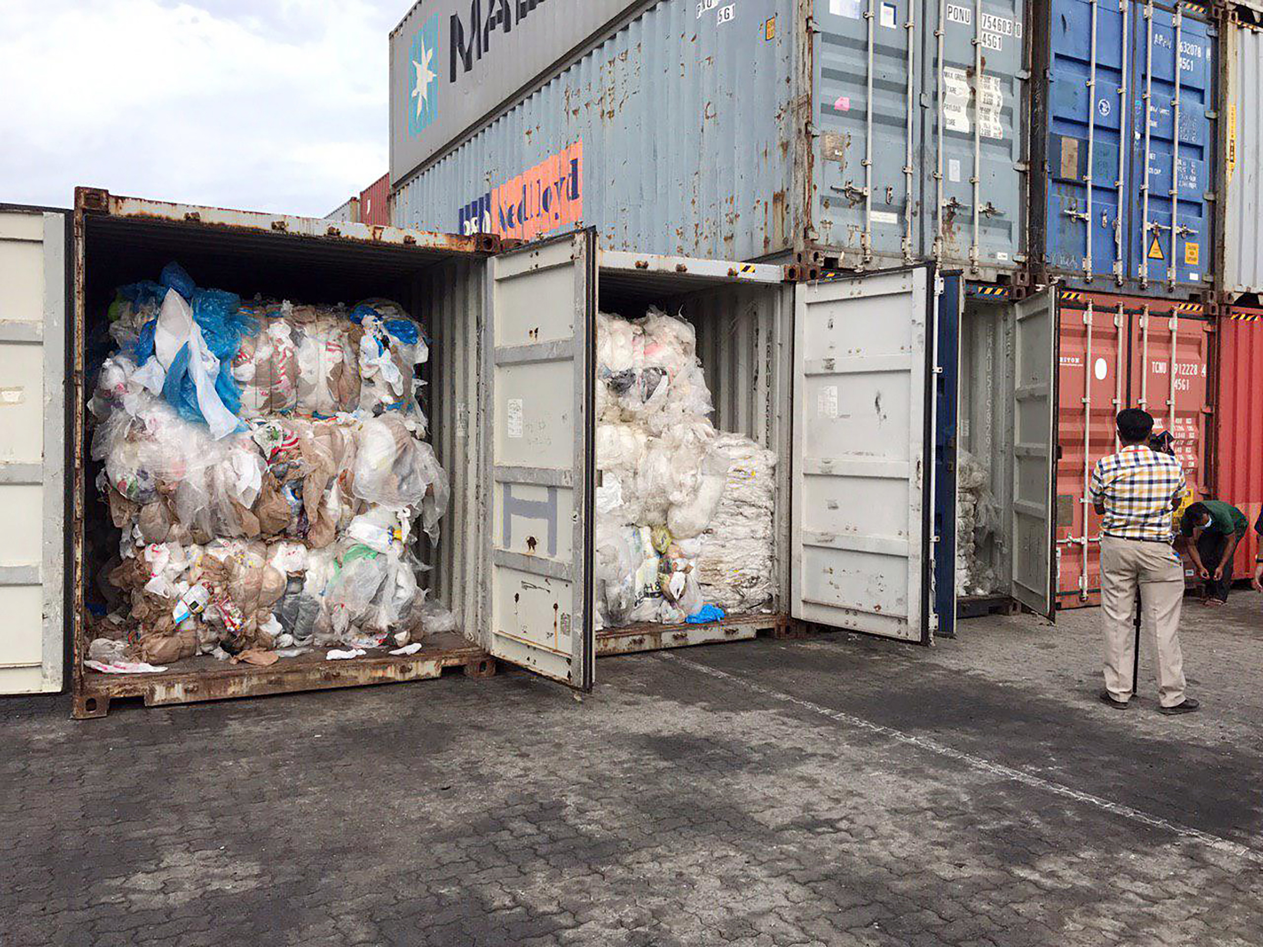 Containers loaded with plastic waste are placed at country beach city, Sihanoukville Port, southwest of Phnom Penh, Cambodia on July 16, 2019.