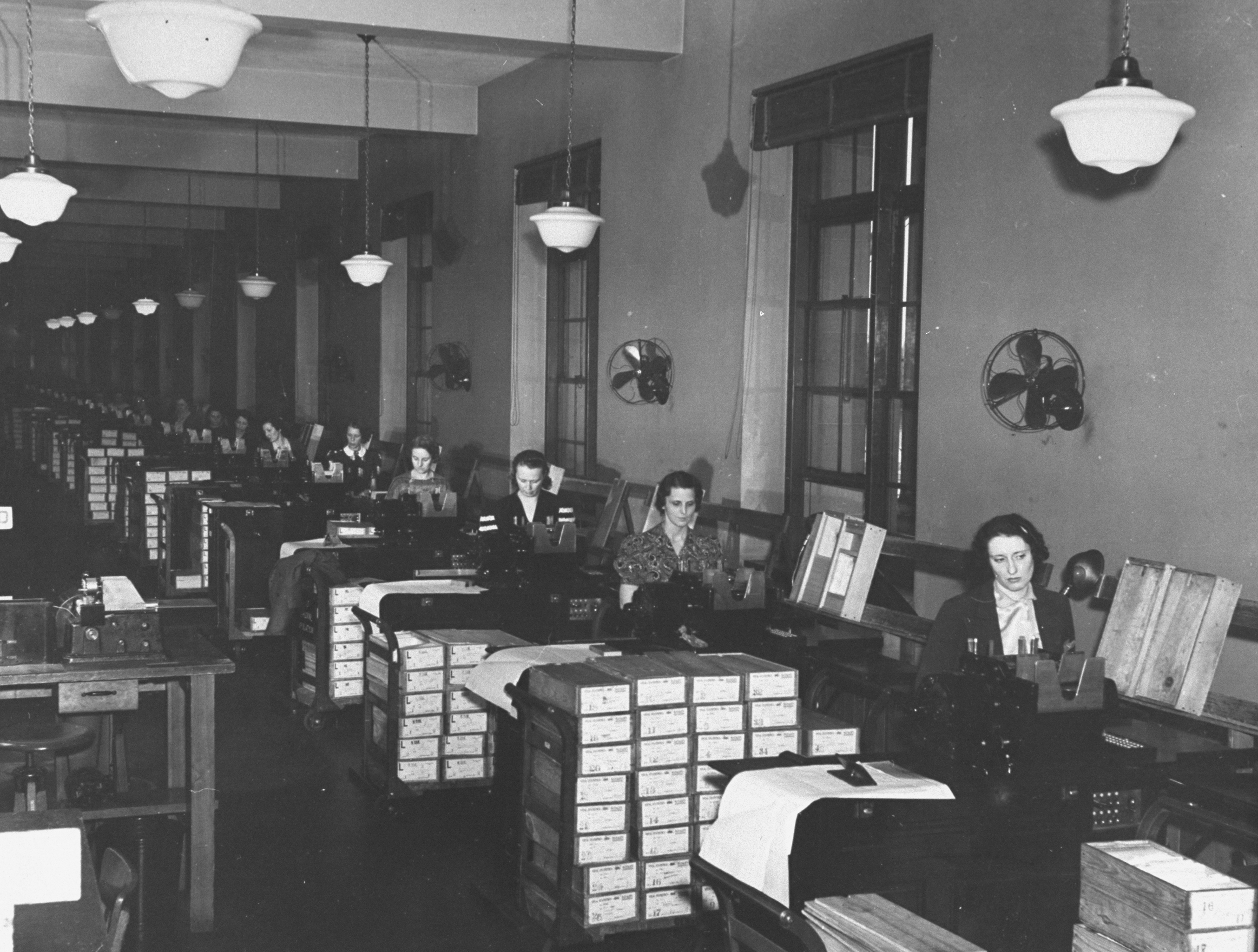 A view of tabulators working at their desks in the Census Bureau.