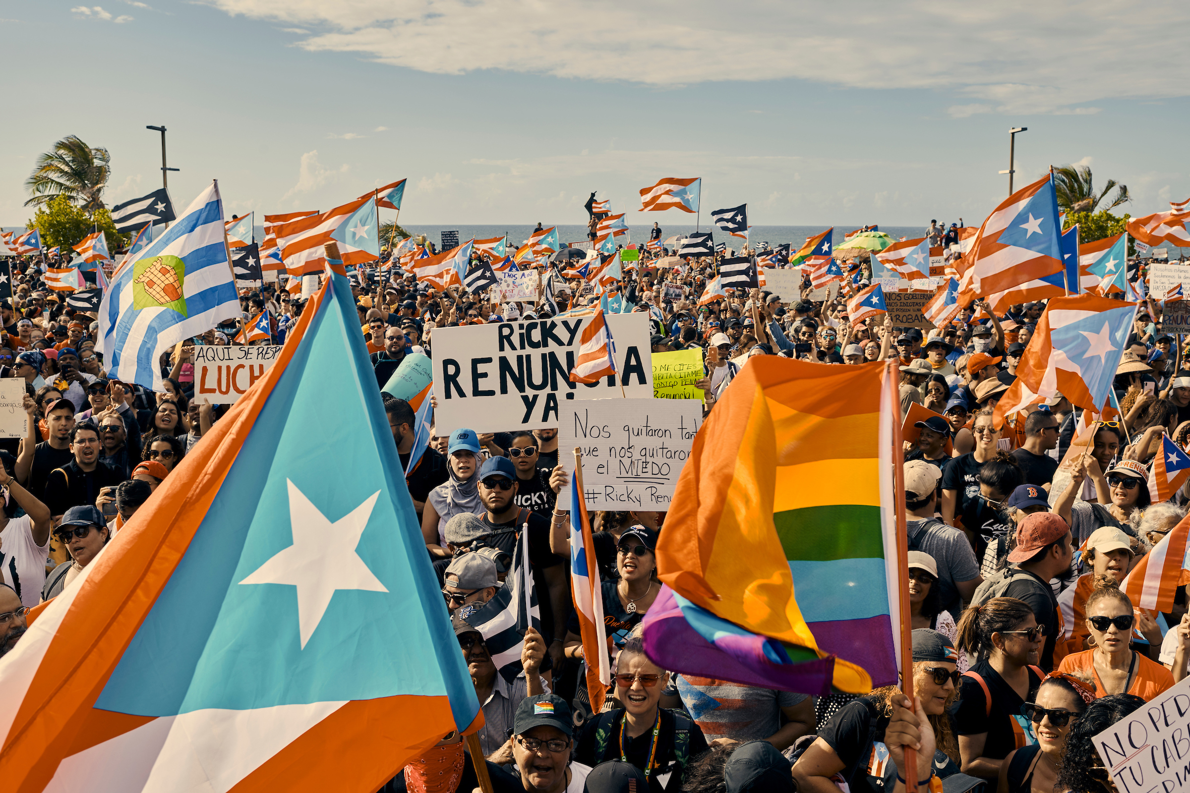 Protesters demanding #RickyRenuncia—a hashtagged demand for the governor's resignation—took to the streets of San Juan on July 17, 2019.