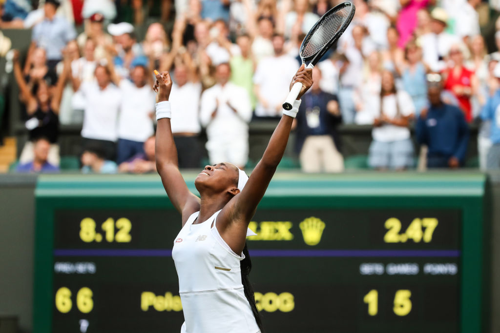 Cori Gauff of the United States celebrates victory after her Ladies' Singles third round match against Polona Hercog of Slovenia during Day five of The Championships - Wimbledon 2019.
