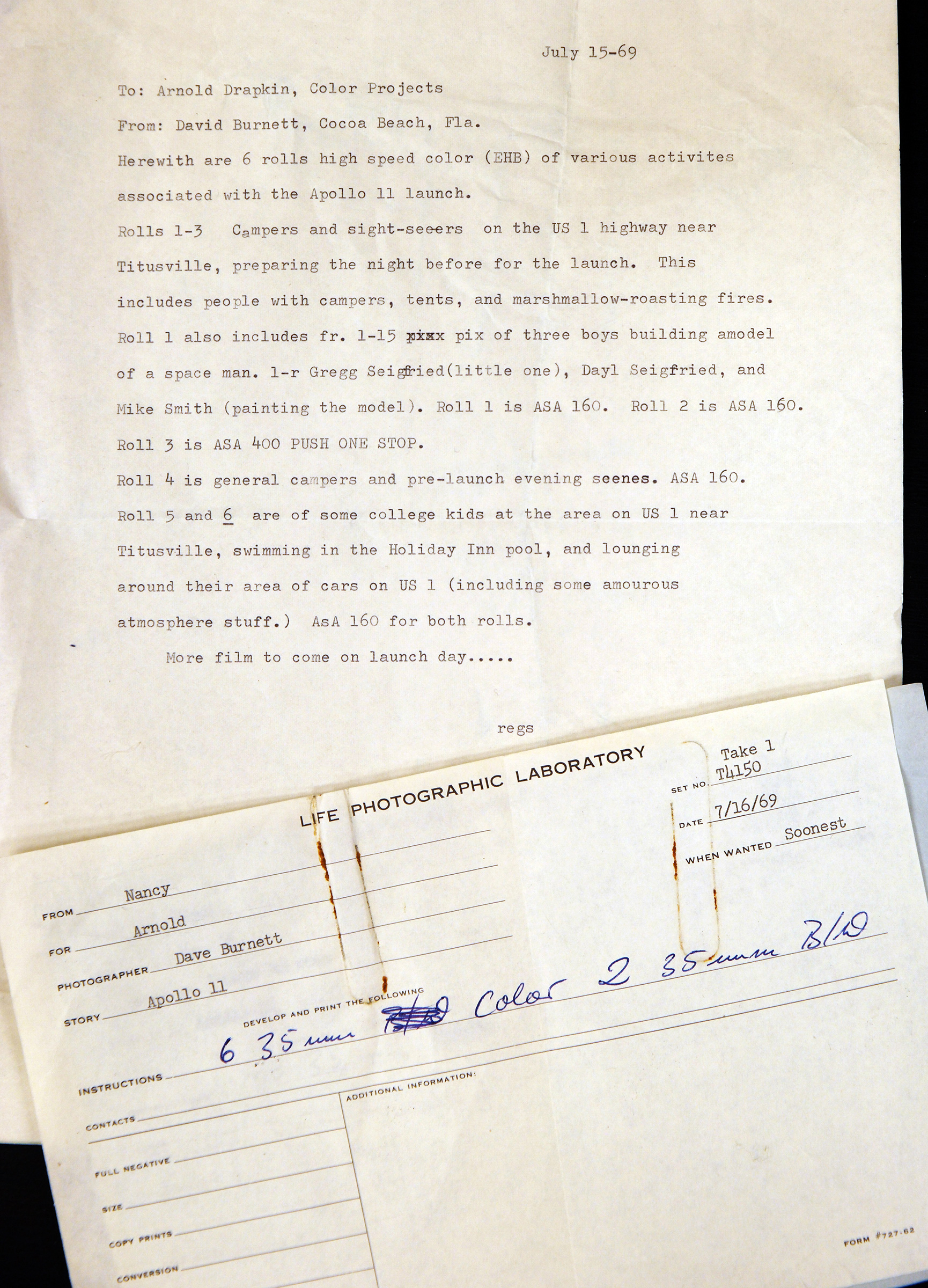 David Burnett's original captions sent to the LIFE photo lab on July 15, 1969.