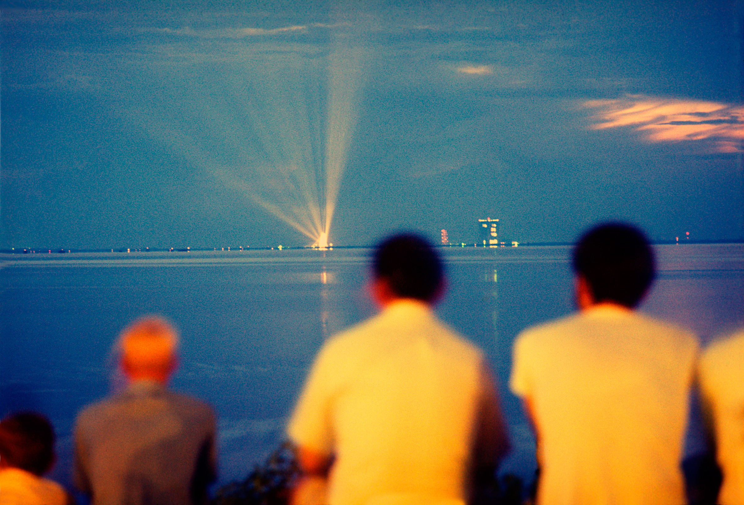 At around dusk,  says Burnett,  NASA put the lights of the launch pad on.