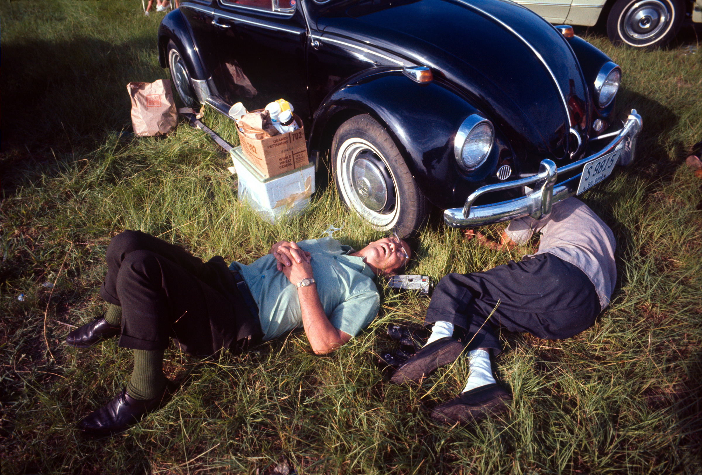 Campers sleep as they wait for the Apollo 11 launch.