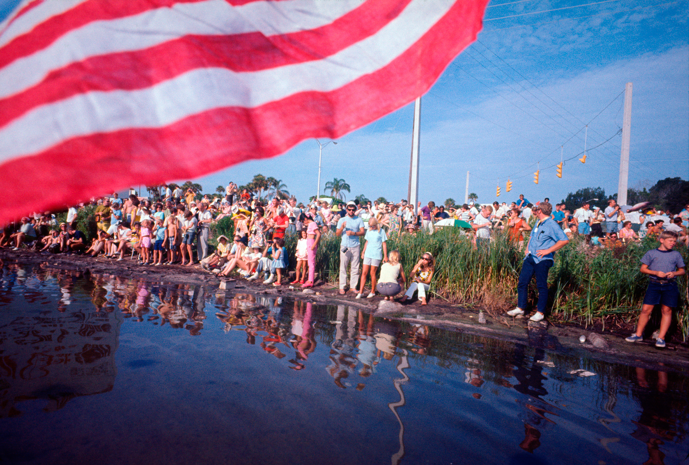 Crowds in Titusville, Florida await the Apollo 11 launch on July 16, 1969.