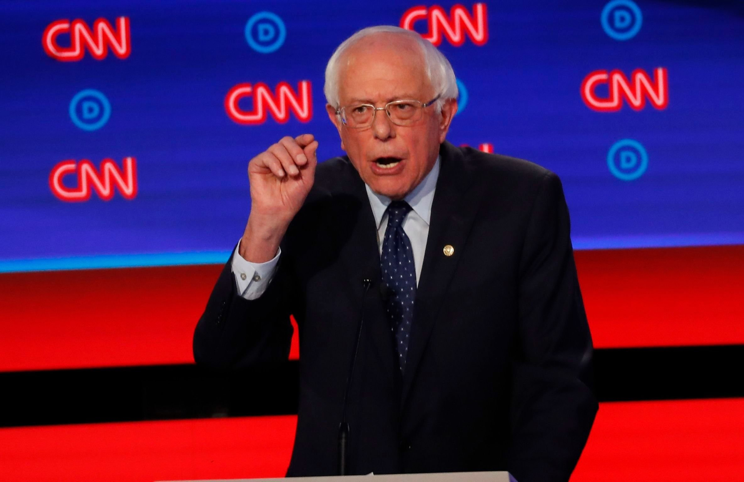 Sen. Bernie Sanders, I-Vt., speaks during the first of two Democratic presidential primary debates hosted by CNN, at the Fox Theatre in Detroit on July 30, 2019.