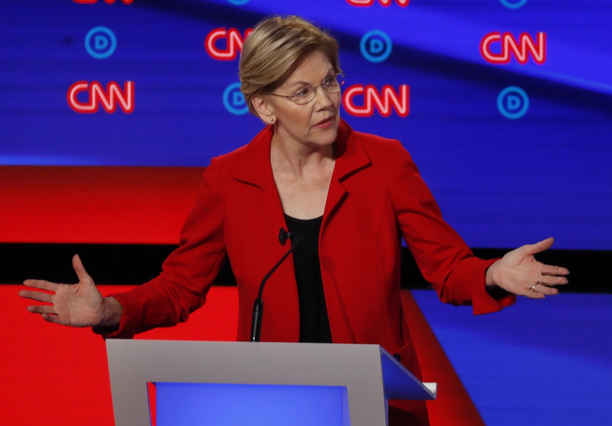 Sen. Elizabeth Warren, D-Mass., participates in the first of two Democratic presidential primary debates hosted by CNN in the Fox Theatre in Detroit on July 30, 2019.