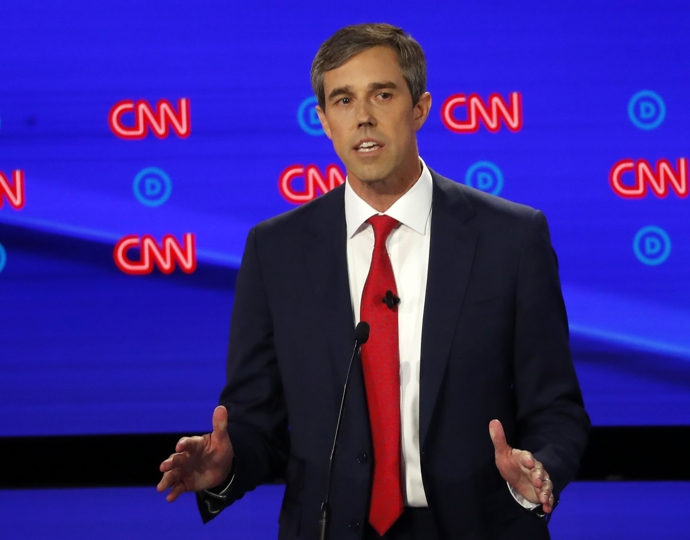 Former Texas Rep. Beto O'Rourke participates in the first of two Democratic presidential primary debates hosted by CNN on July 30, 2019, in the Fox Theatre in Detroit.