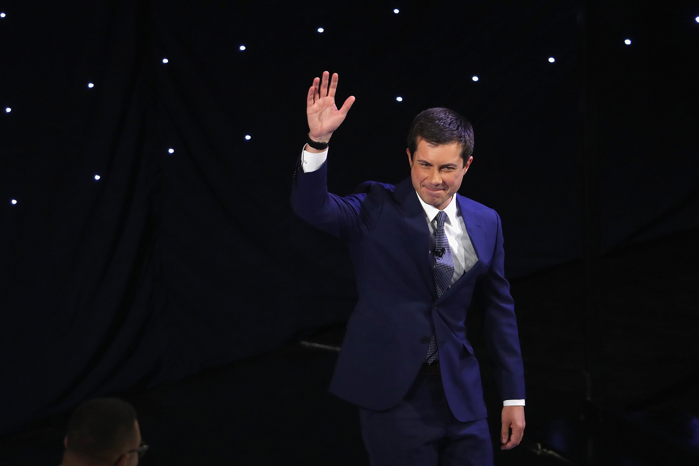 Democratic presidential candidate South Bend, Indiana Mayor Pete Buttigieg takes the stage at the beginning of the Democratic Presidential Debate at the Fox Theatre July 30, 2019 in Detroit, Michigan.