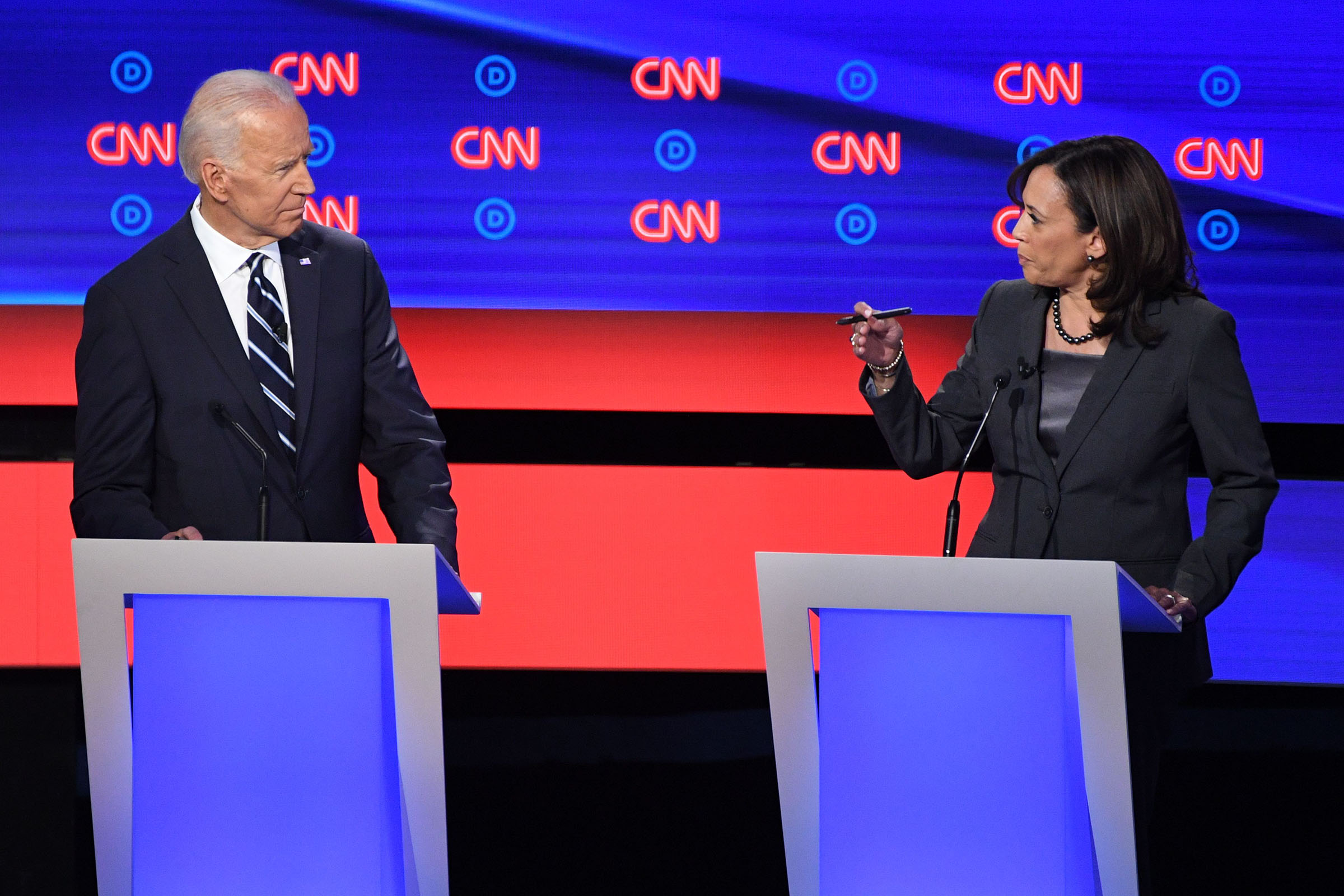 Democratic presidential hopefuls Former Vice President Joe Biden and US Senator from California Kamala Harris speak during the second round of the second Democratic primary debate of the 2020 presidential campaign season hosted by CNN at the Fox Theatre in Detroit, Michigan on July 31, 2019.