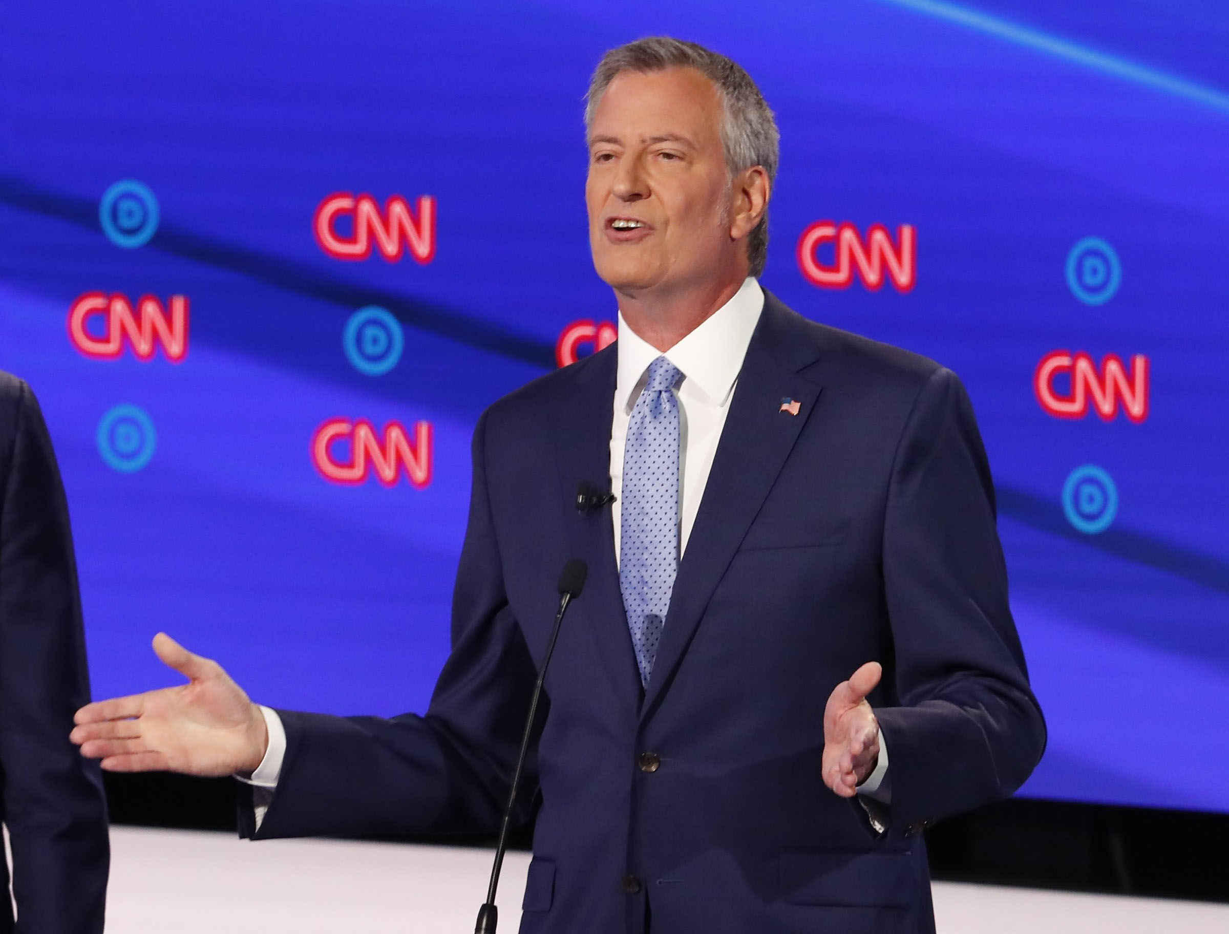New York City Mayor Bill de Blasio participates in the second of two Democratic presidential primary debates hosted by CNN Wednesday, July 31, 2019, in the Fox Theatre in Detroit.