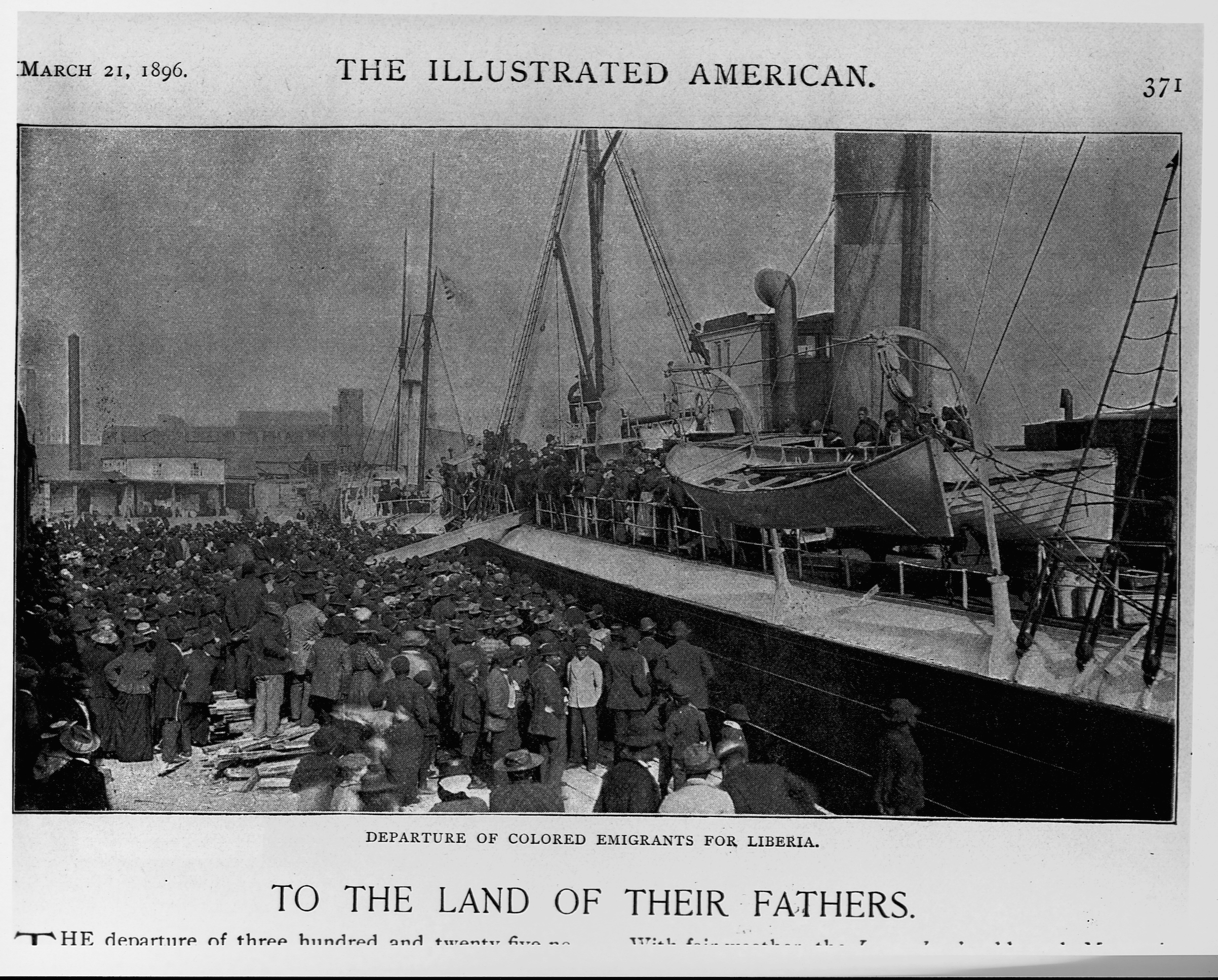 African-American emigrants depart for Liberia on the steamship Laurada, Savannah, Ga., March 1, 1896.