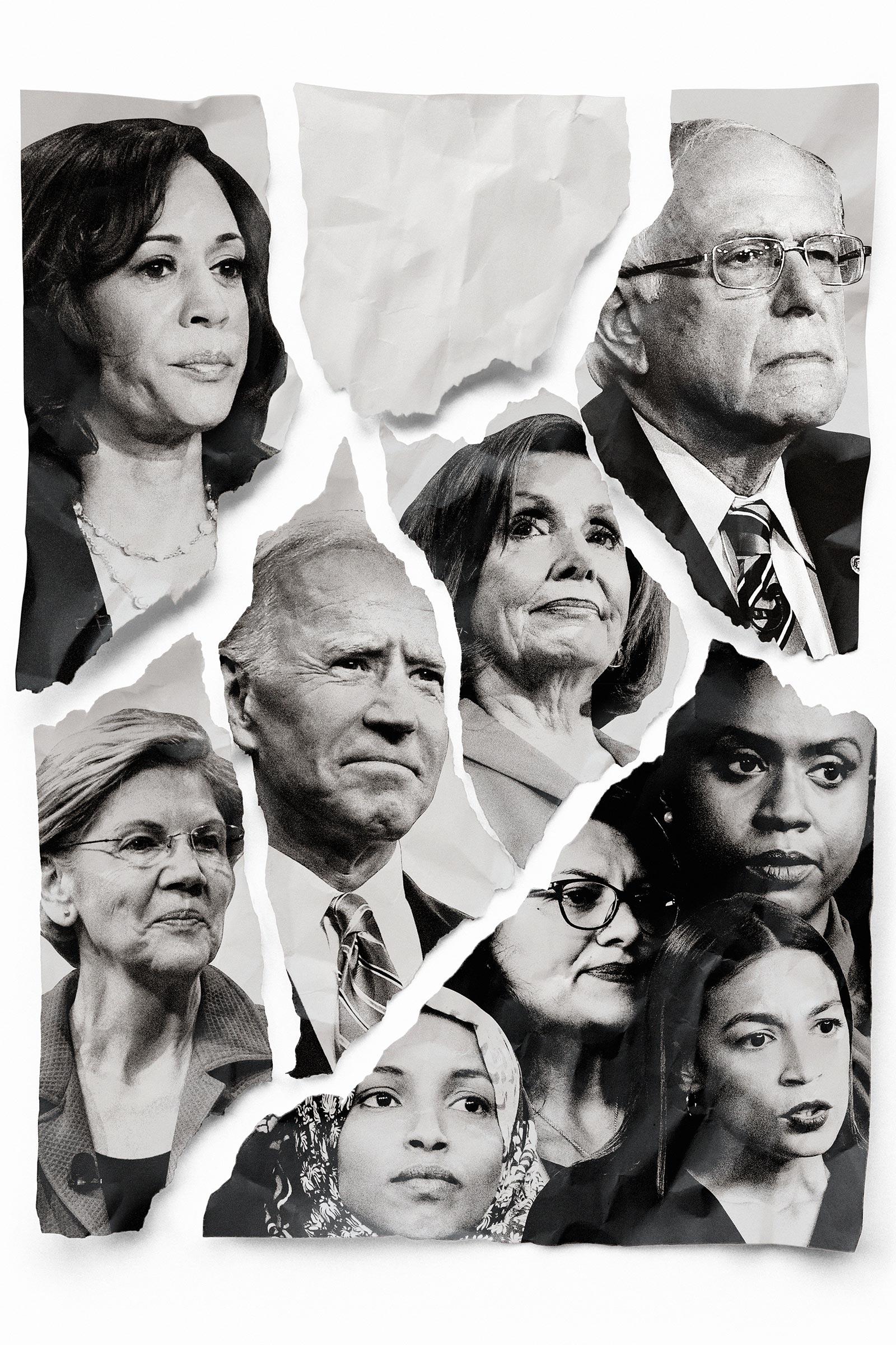 Clockwise from top left: Kamala Harris, Bernie Sanders, Ayanna Pressley, Alexandria Ocasio-Cortez, Rashida Tlaib, Ilhan Omar, Elizabeth Warren, Joe Biden, Nancy Pelosi.