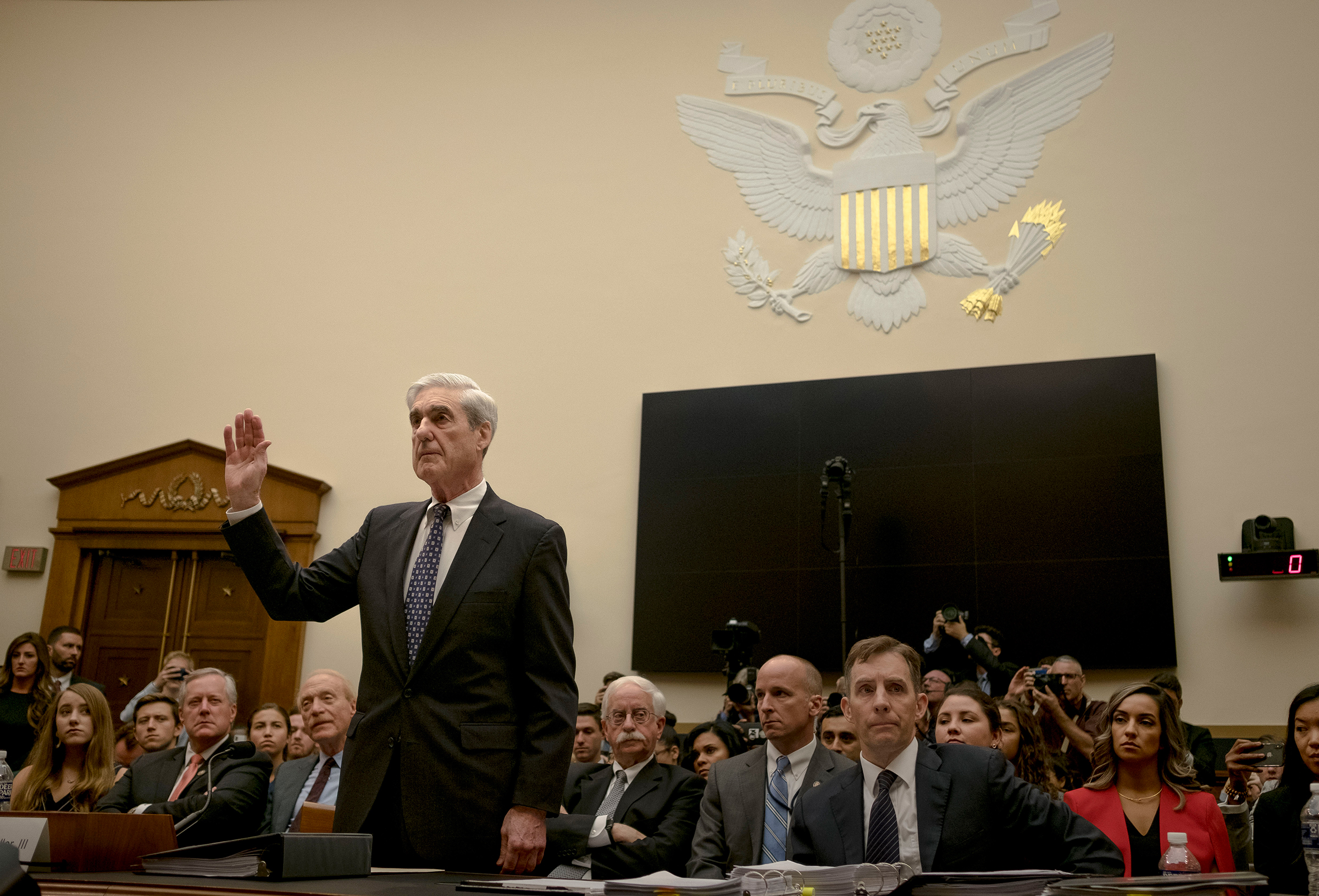 Mueller is sworn in before the House Judiciary Committee.