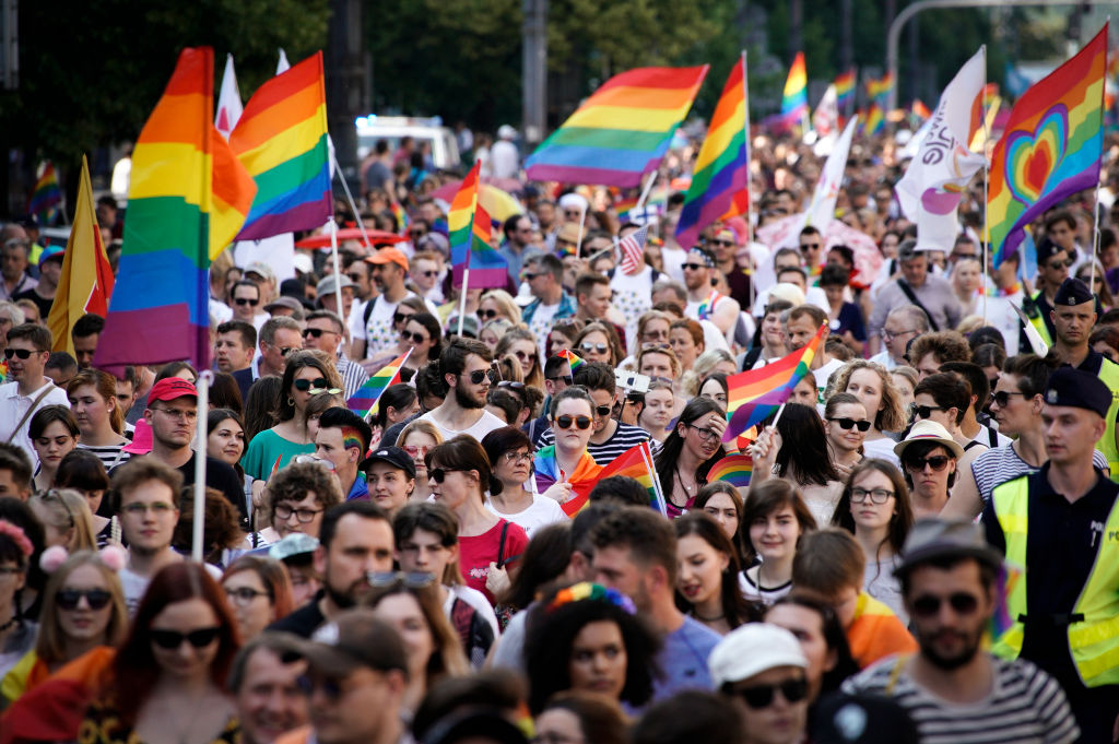 People are seen taking part in the equality parade in Warsaw, Poland on June 8, 2019. Thousands of people took part in the parade meant to celebrate gender equality at a time when the ruling, conservative Law and Justice (PiS) party has aggressively rallied against the LGBT community in order to whip up support from it's mainly Catholic voter base.