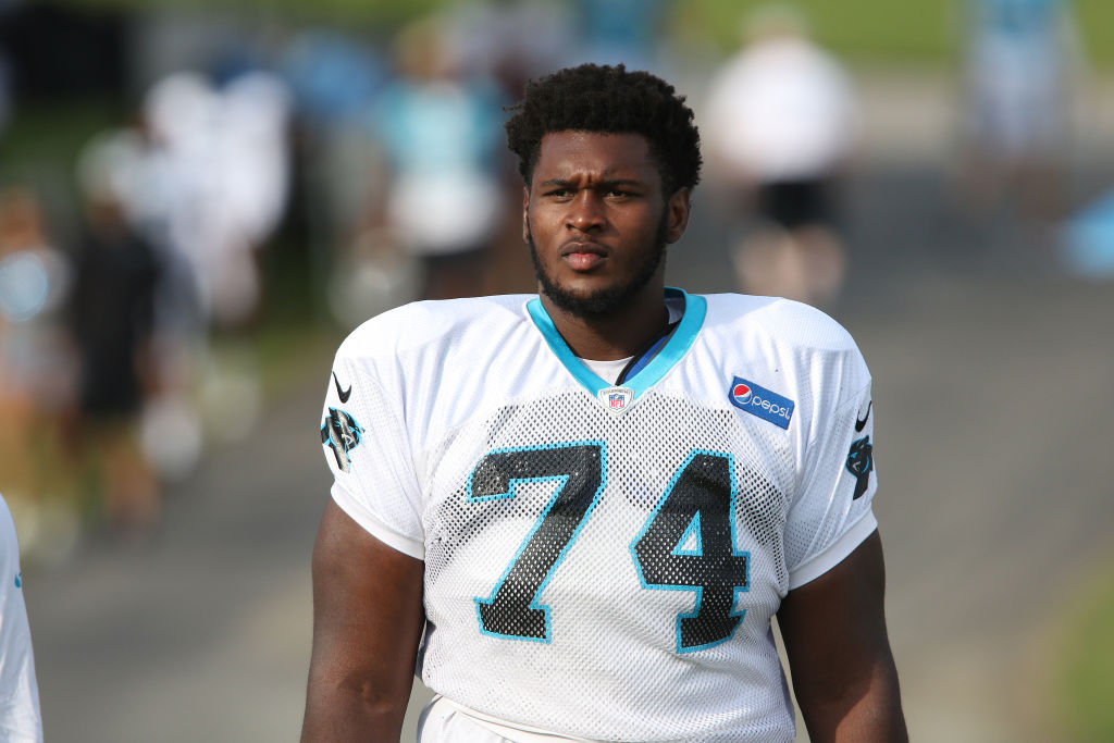 SPARTANBURG, SC - JULY 29: Kendrick Norton (74) defensive tackle Carolina Panthers walks to the practice field at the Carolina Panthers training camp on July 29, 2018 at Wofford College in Spartanburg, S.C.