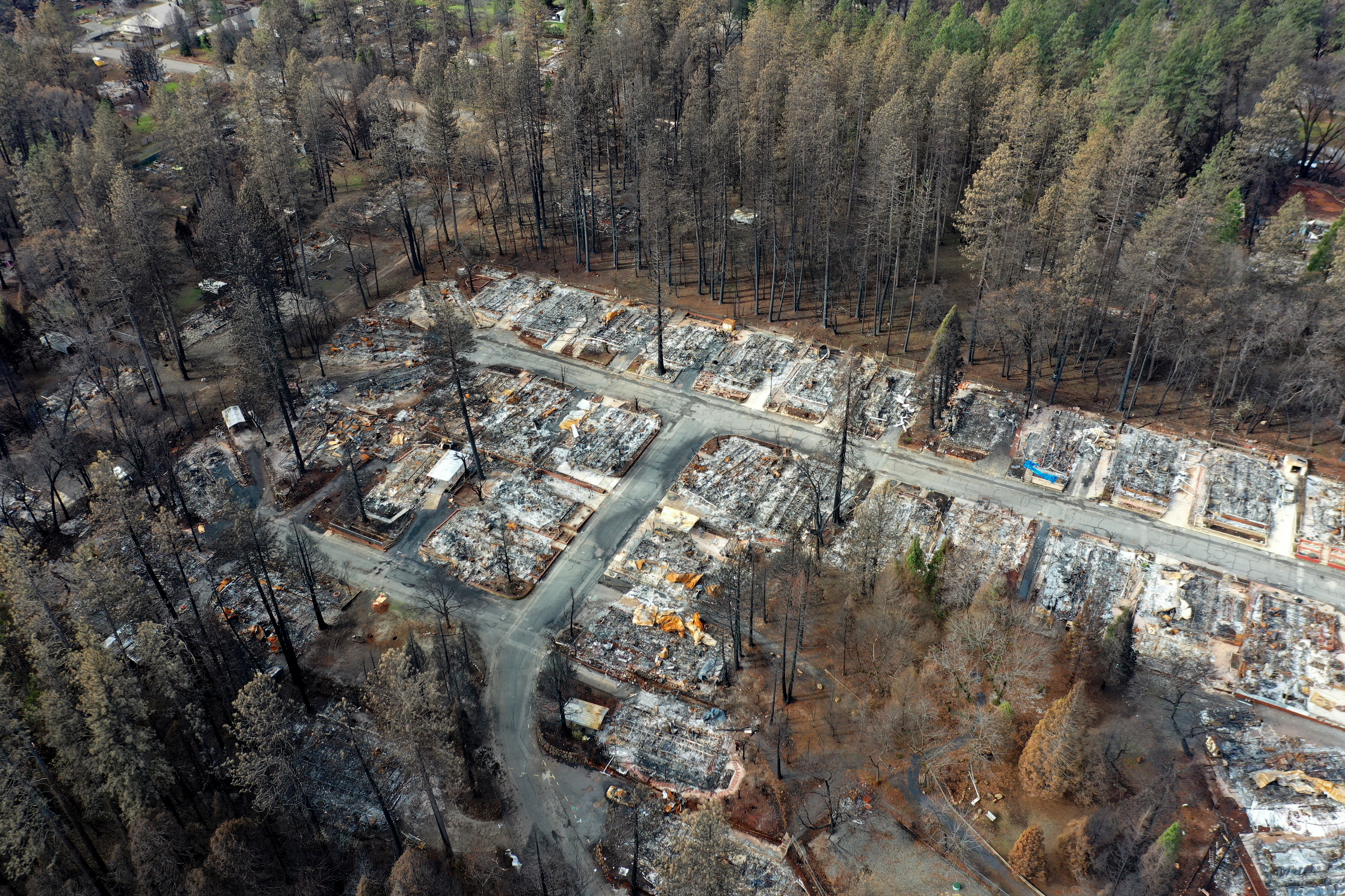 An aerial view of homes destroyed by the Camp Fire in Paradise, California on February 11, 2019.
