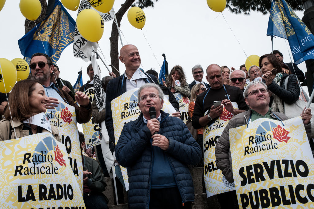 A demonstration to save historic radio station Radio Radicale in Piazza Madonna di Loreto, Rome on APRIL 21, 2019.