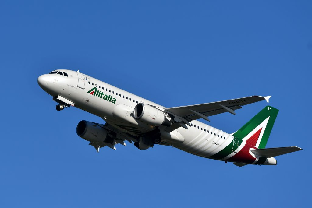An Airbus A320 bearing the livery of Alitalia airline takes off from Rome's Fiumicino airport on May 31, 2019.