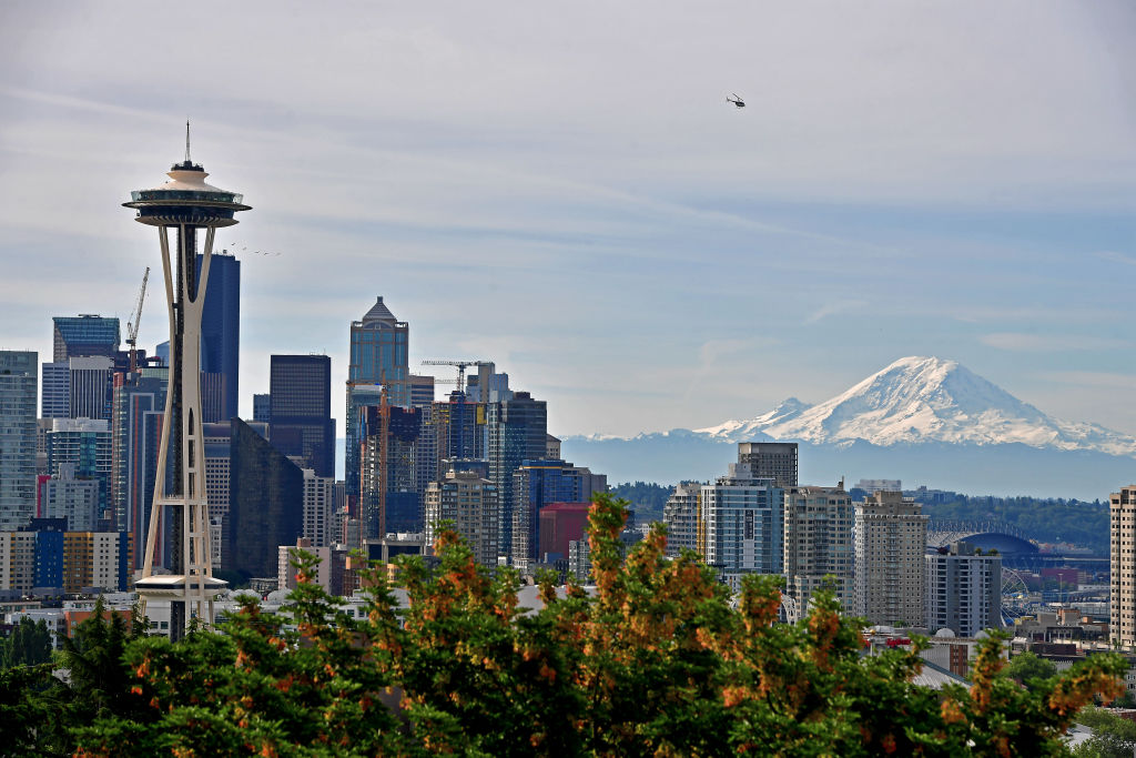 The Seattle Skyline and (active volcano) Mount Rainier on June 19, 2019