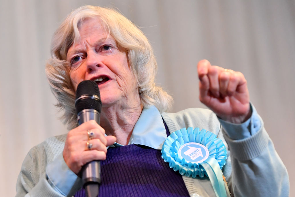 Ann Widdecombe speak during a Brexit Party rally at the John Smith's Stadium on May 13, 2019 in Huddersfield, England.