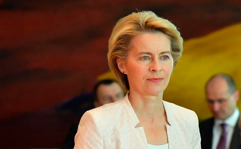 German Defence Minister Ursula von der Leyen arrives to attend the weekly cabinet meeting at the Chancellery in Berlin on July 3, 2019. - After three days of bitter wrangling, German Defence Minister Ursula von der Leyen was named to replace Jean-Claude Juncker at the head of the European Commission for the next five years.
