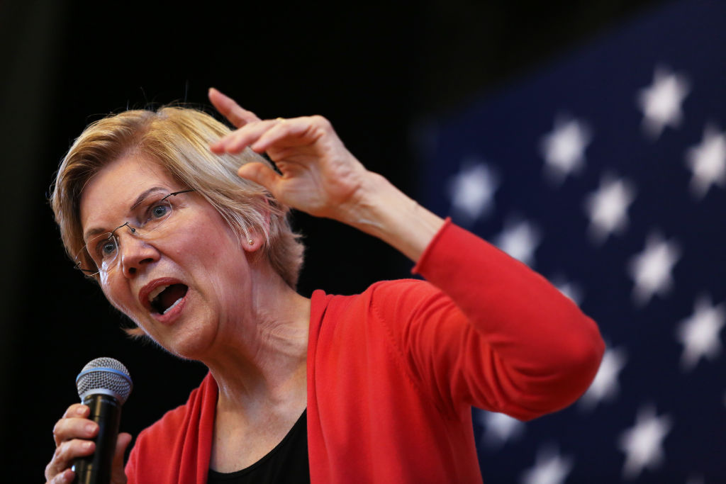 U.S. Senator and presidential candidate Elizabeth Warren speaks during her town hall event at the Peterborough Town House in Peterborough, N.H., on July 8, 2019.