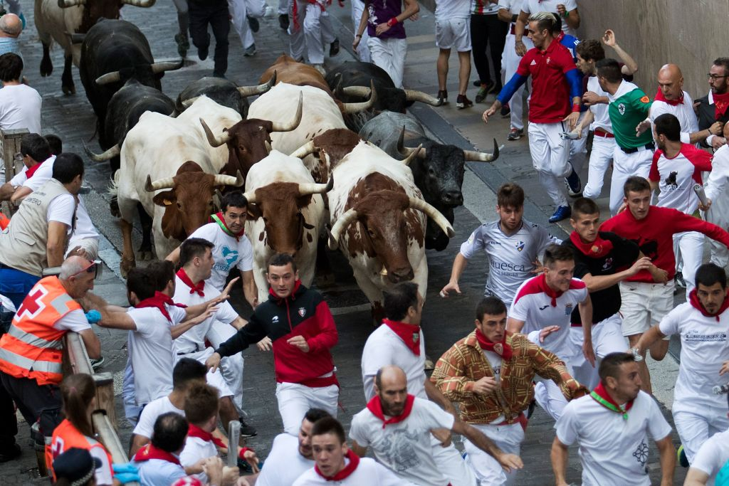 Participants run next to Miura fighting bulls on the last bullrun of the San Fermin festival in Pamplona, northern Spain, on July 12, 2019.