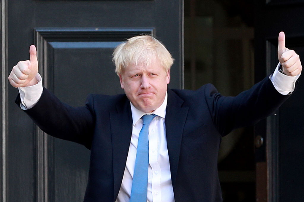 Newly elected Conservative Party leader Boris Johnson outside the Conservative Leadership Headquarters on July 23, 2019 in London after being chosen the country's next Prime Minister.
