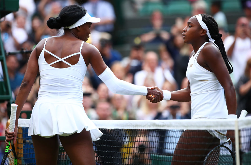 Cori Gauff of the United States shakes hands at the net with Venus Williams of The United States after her Ladies' Singles first round match against Venus Williams of The United States during Day one of The Championships - Wimbledon 2019 at All England Lawn Tennis and Croquet Club in London, England, on July 01, 2019.