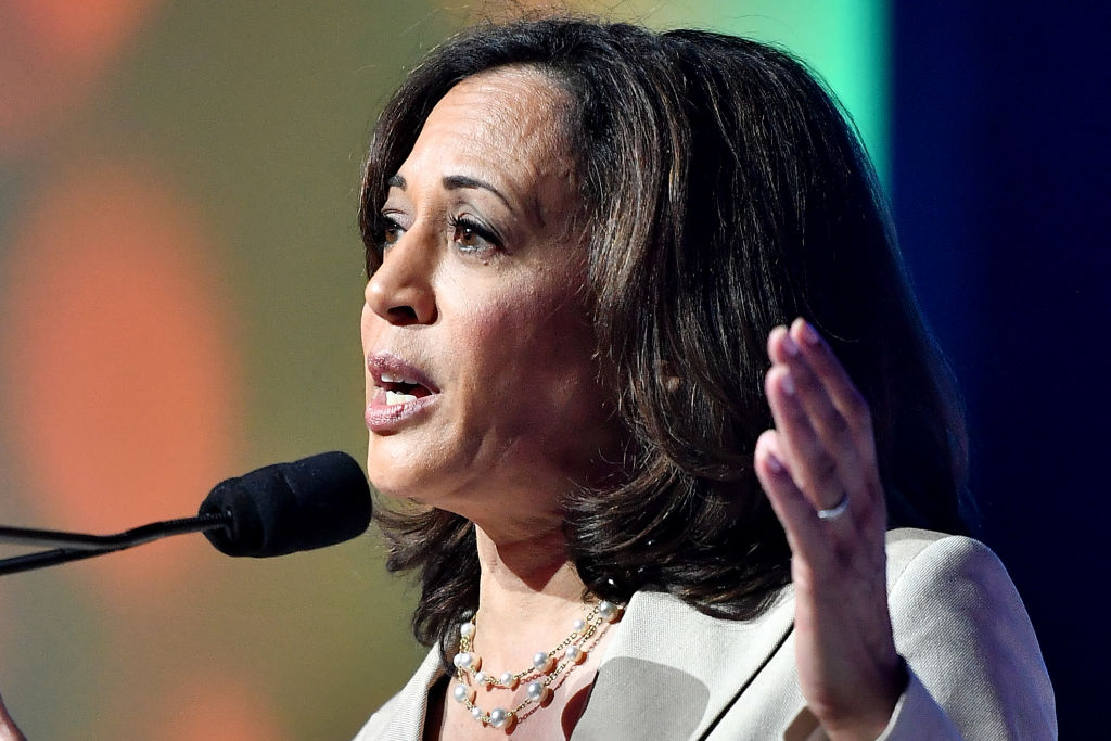 Kamala Harris speaks on stage at 2019 ESSENCE Festival Presented By Coca-Cola at Ernest N. Morial Convention Center on July 06, 2019 in New Orleans, Louisiana.