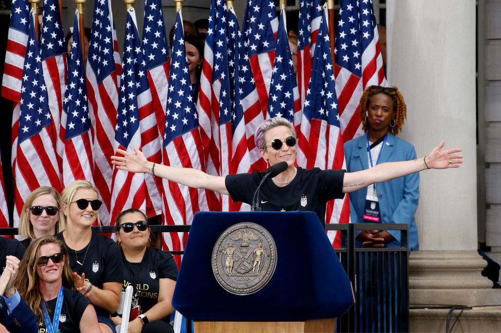 NEW YORK, NEW YORK - JULY 10:  USA soccer champion Megan Rapinoe celebrates U.S. Women's National Soccer Team Victory at the City Hall on July 10, 2019 in New York City.