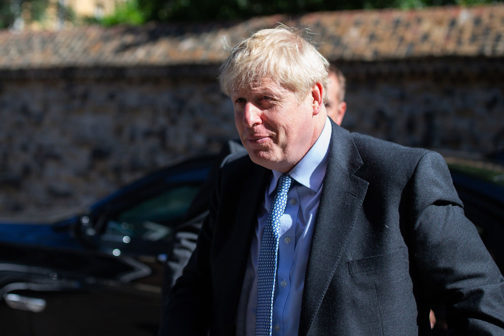 Conservative leadership candidate, Boris Johnson is seen arriving at a Westminster address on July 16, 2019 in London, England.