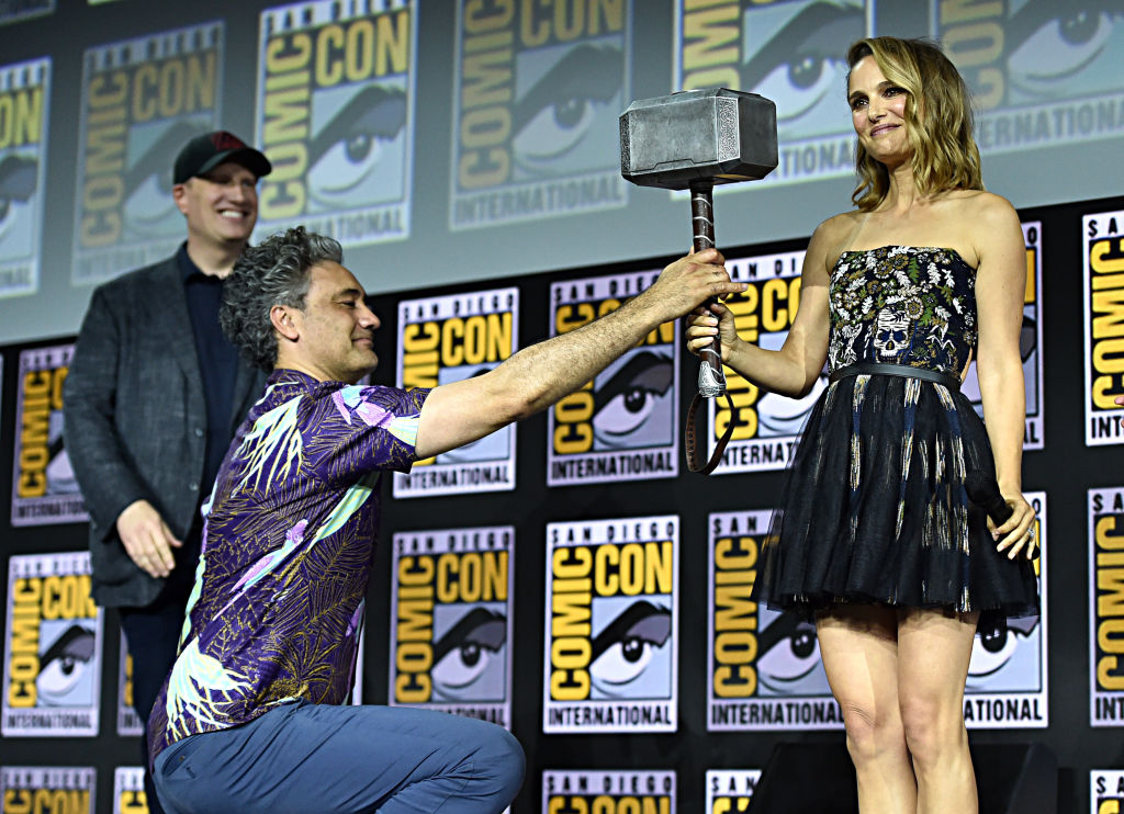 (L-R) President of Marvel Studios Kevin Feige, Director Taika Waititi and Natalie Portman of Marvel Studios' 'Thor: Love and Thunder' at the San Diego Comic-Con International 2019 Marvel Studios Panel in Hall H on July 20, 2019 in San Diego, California.