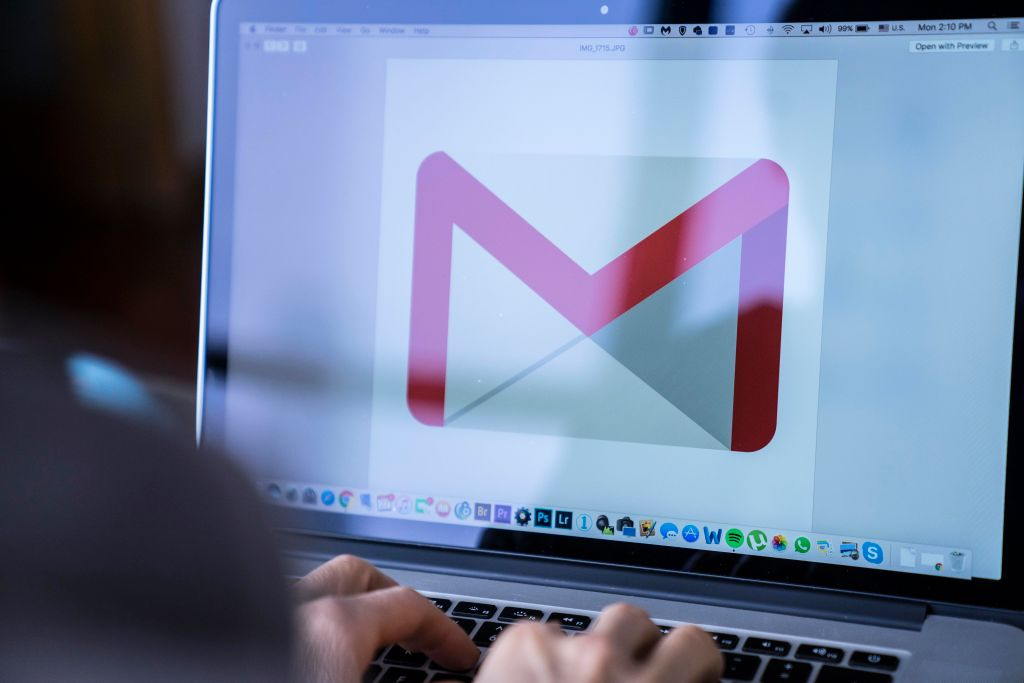 A woman using a MacBook Pro as she uses Google Gmail on November 27, 2017 in Hong Kong, Hong Kong.