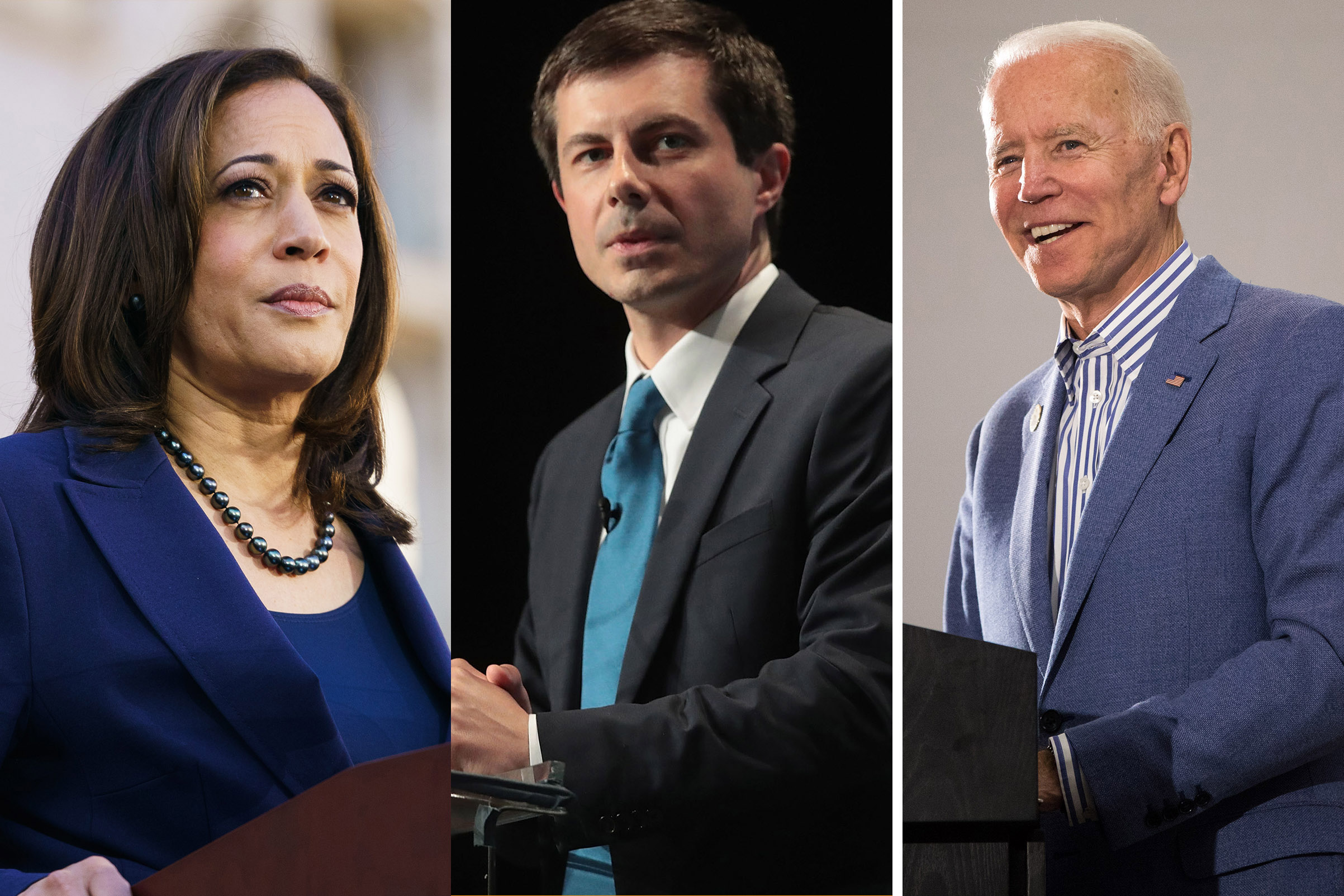 (L-R) U.S. Senator Kamala Harris (D-CA); Democratic presidential candidate and South Bend, Indiana Mayor Pete Buttigieg; Democratic presidential candidate and former U.S. Vice President Joe Biden